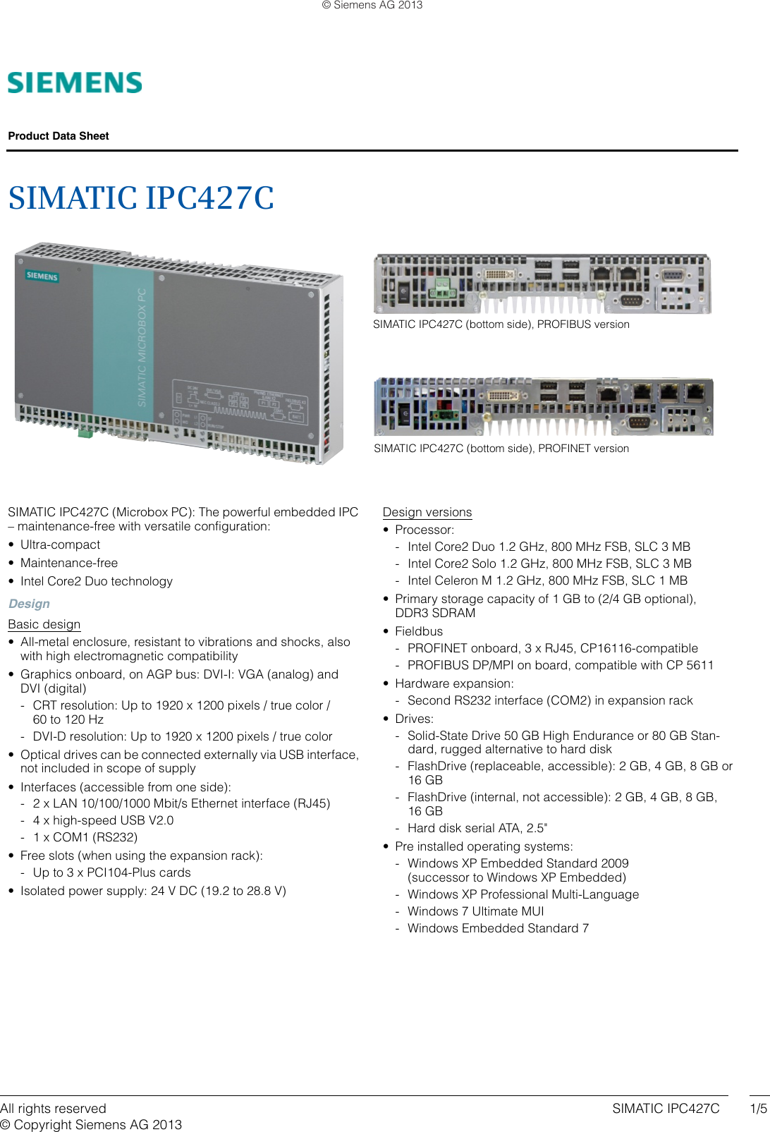 Siemens Personal Computer Ipc427C Users Manual IndustrialPC