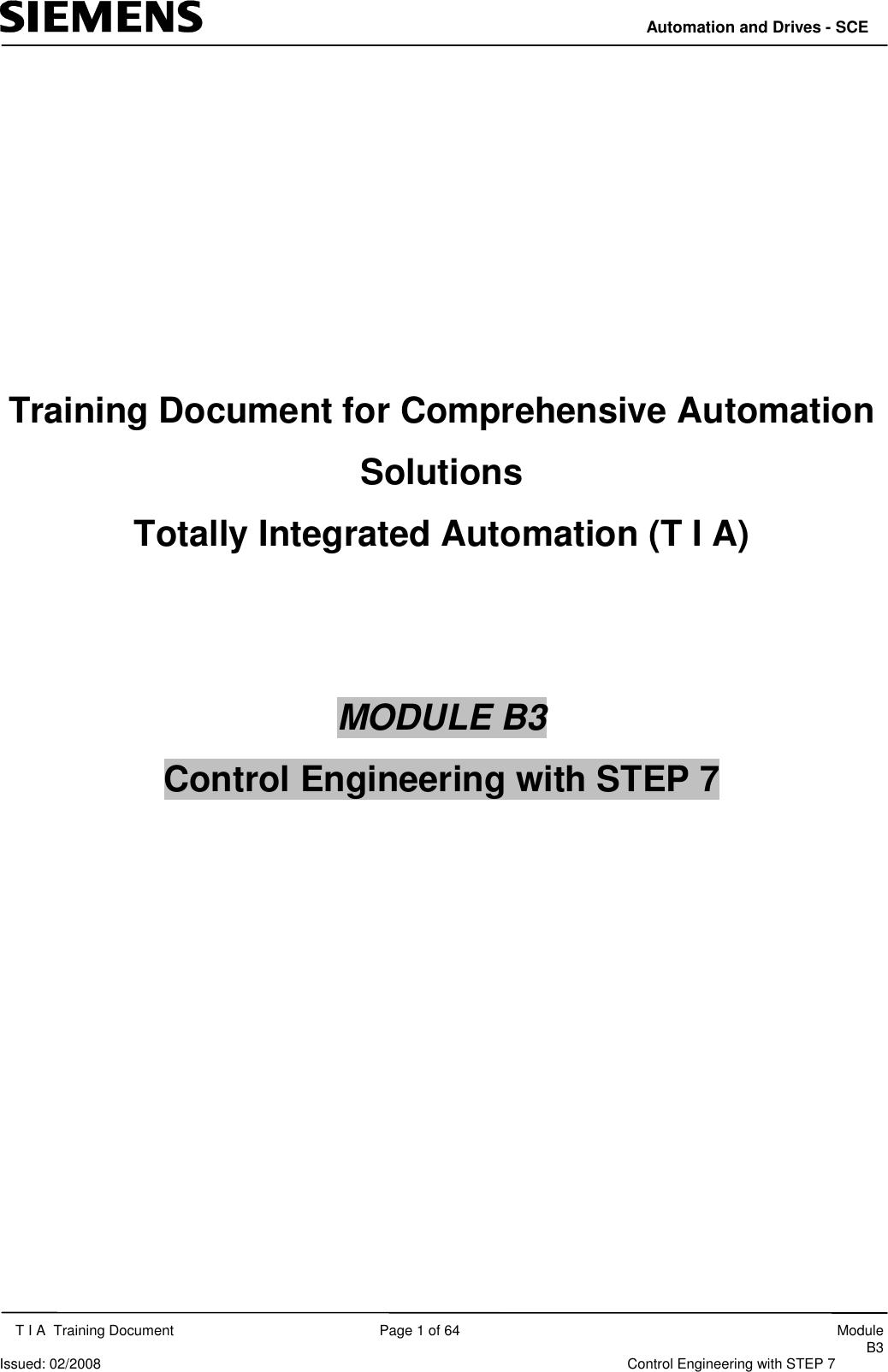 Siemens Time Clock Module B3 Users Manual Modul_B03