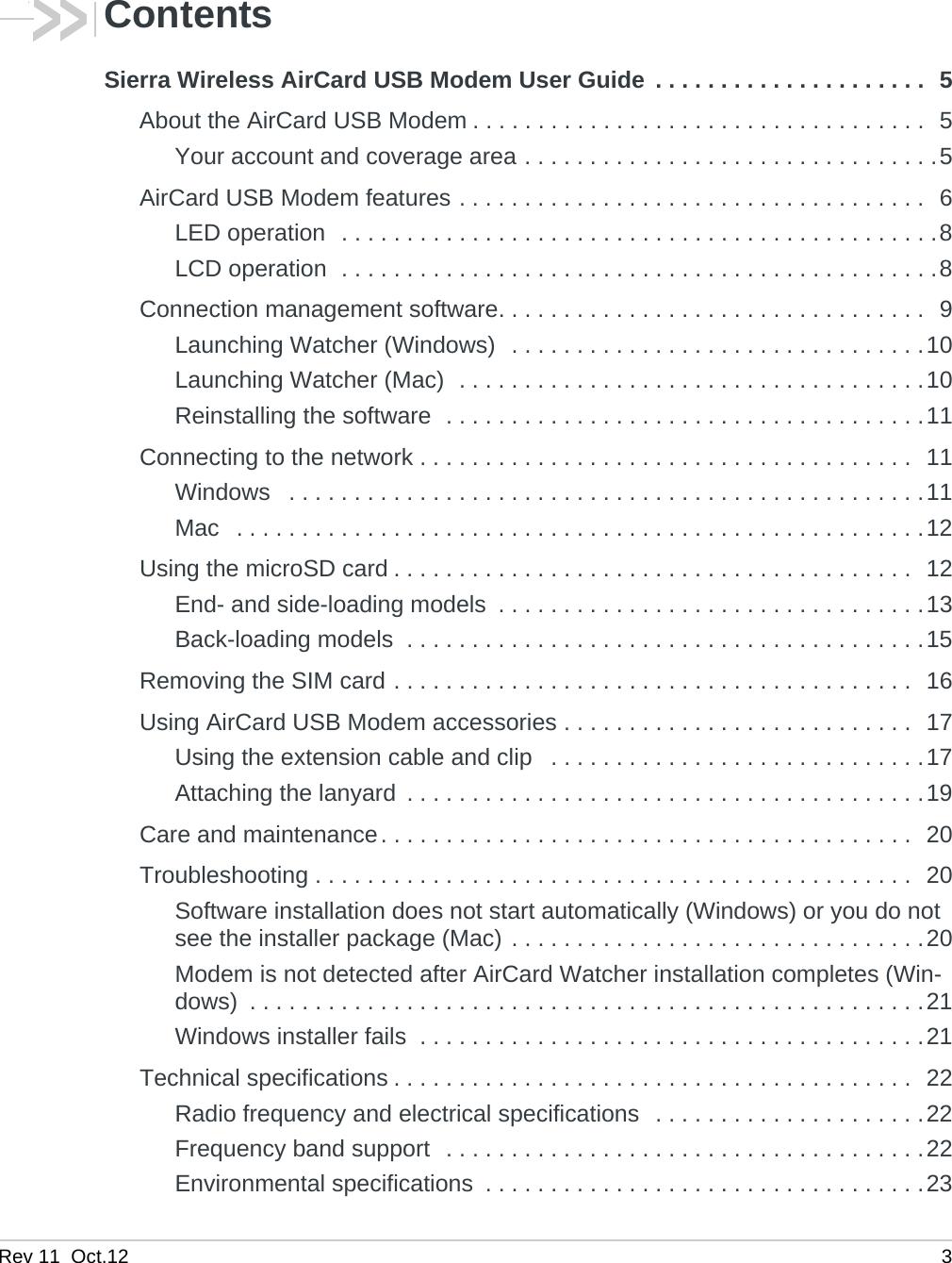 Sierra Wireless Ac340u Gsm Umts Lte Usb Modem User Manual Gps Module Schematics Rev11 Rev 11 Oct12 3contentssierra Aircard Guide