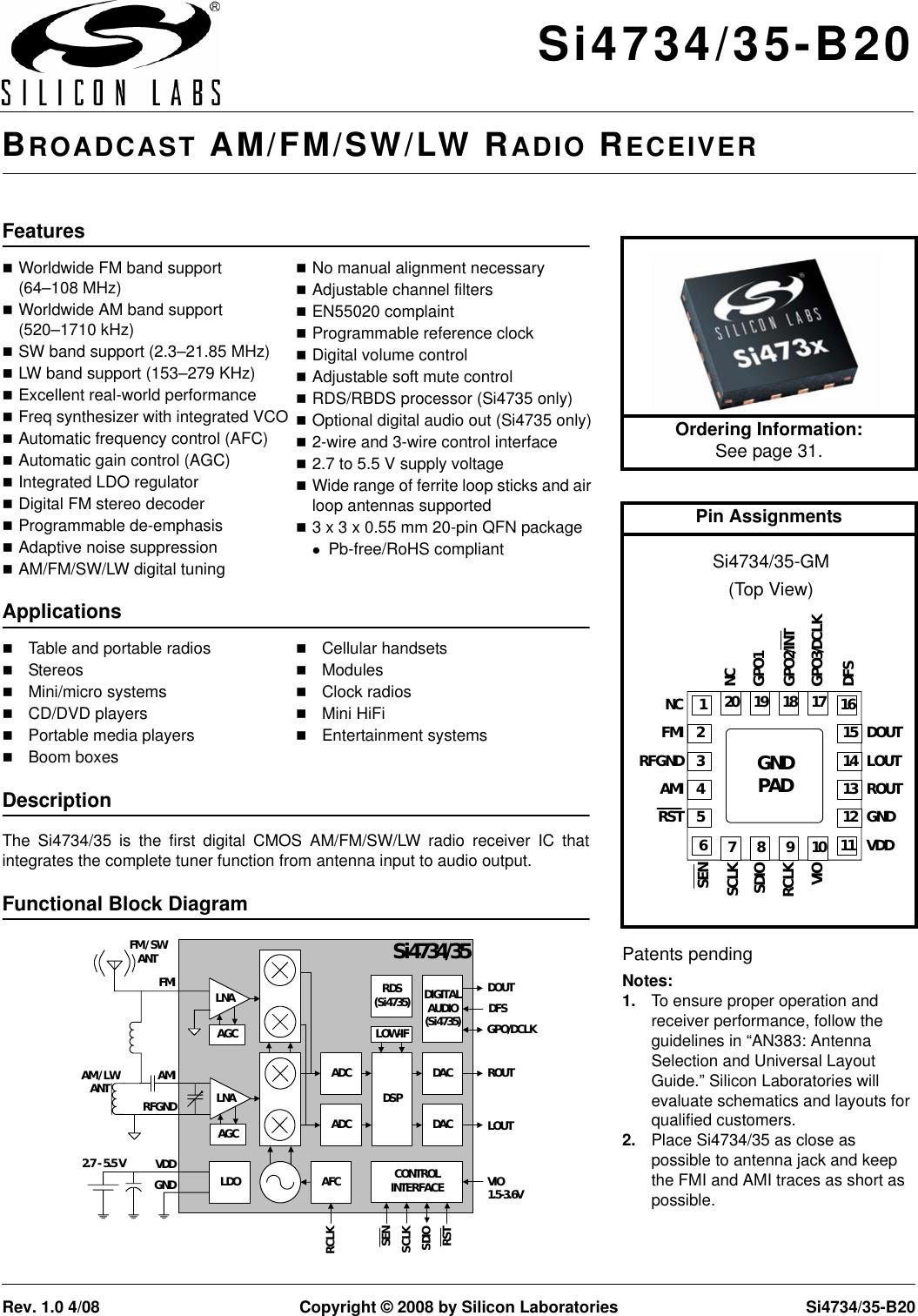 Silicon Laboratories Si4734 35 B20 Users Manual Super Afc 2wire Diagram