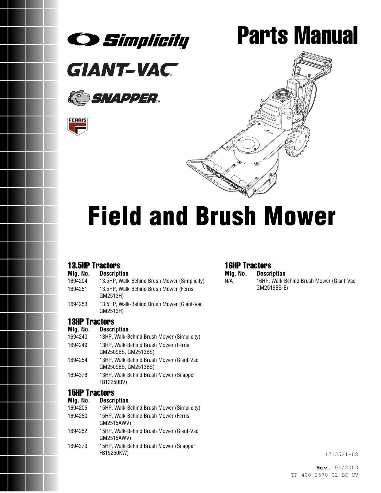 Simplicity 13 5Hp Parts Manual TP 400 2570 02 BC UV