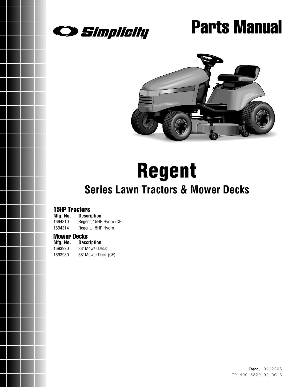 Simplicity 1693920 Parts Manual TP_400_3829_00_RG_S