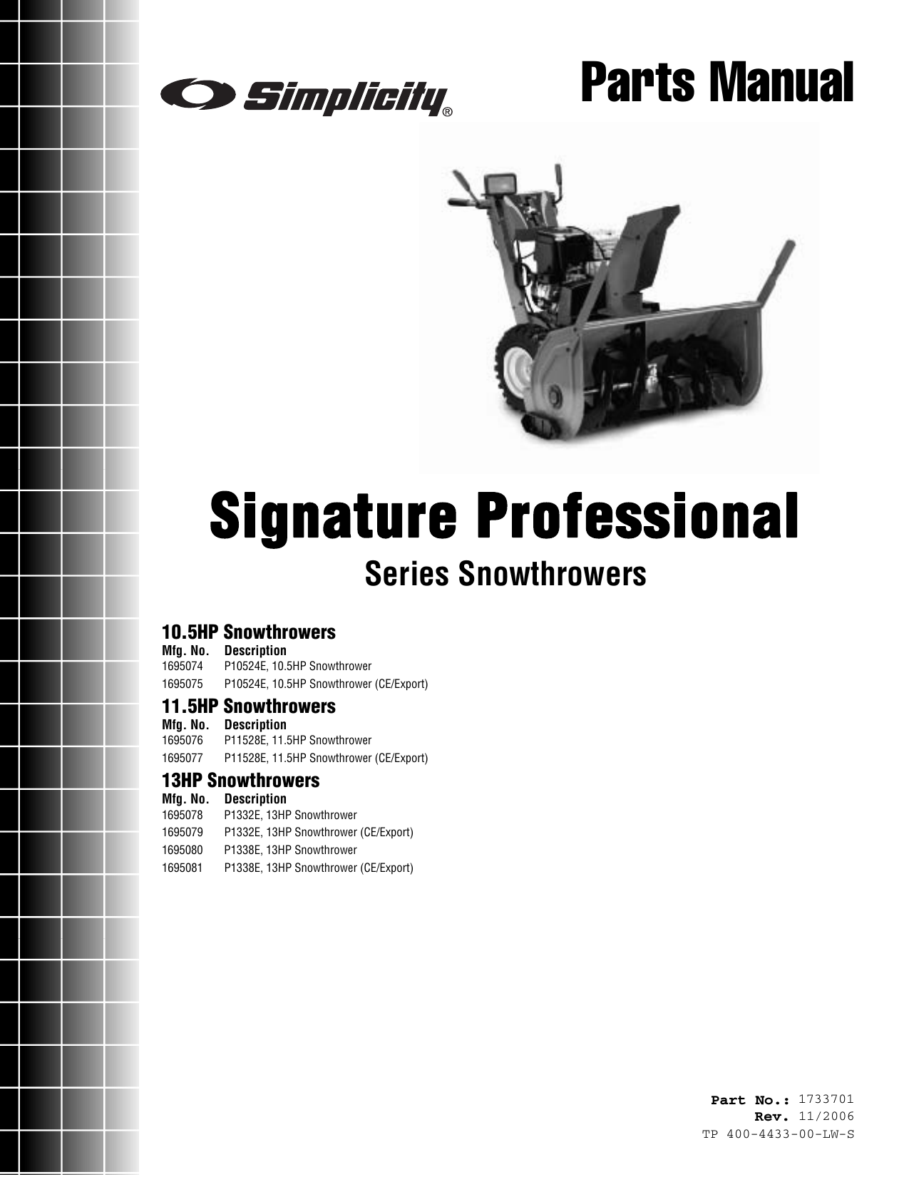 Simplicity 1695074 Parts Manual Signature Professional Series