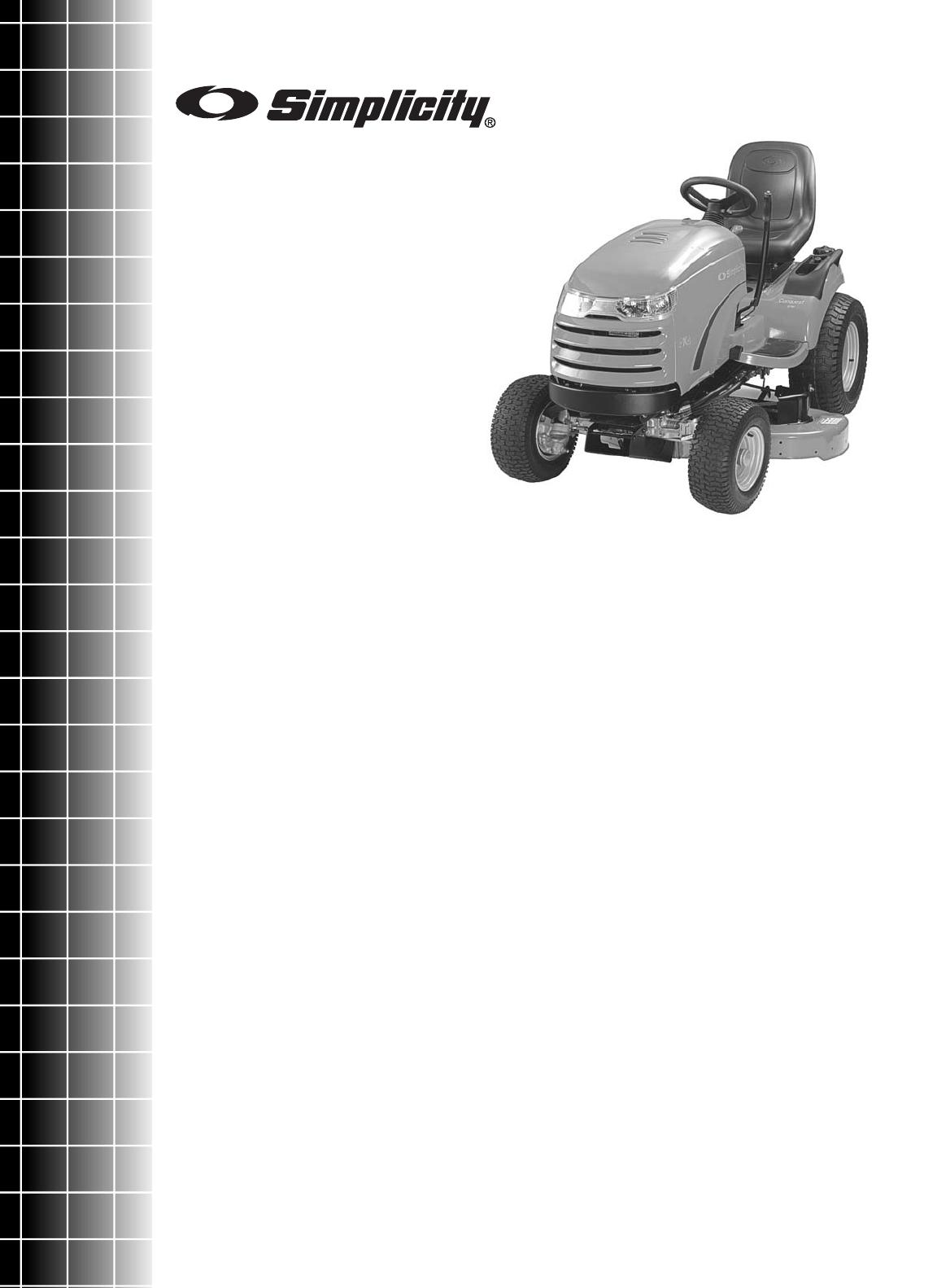 Simplicity 1695395 Parts Manual Conquest 4WD Series Garden Tractors