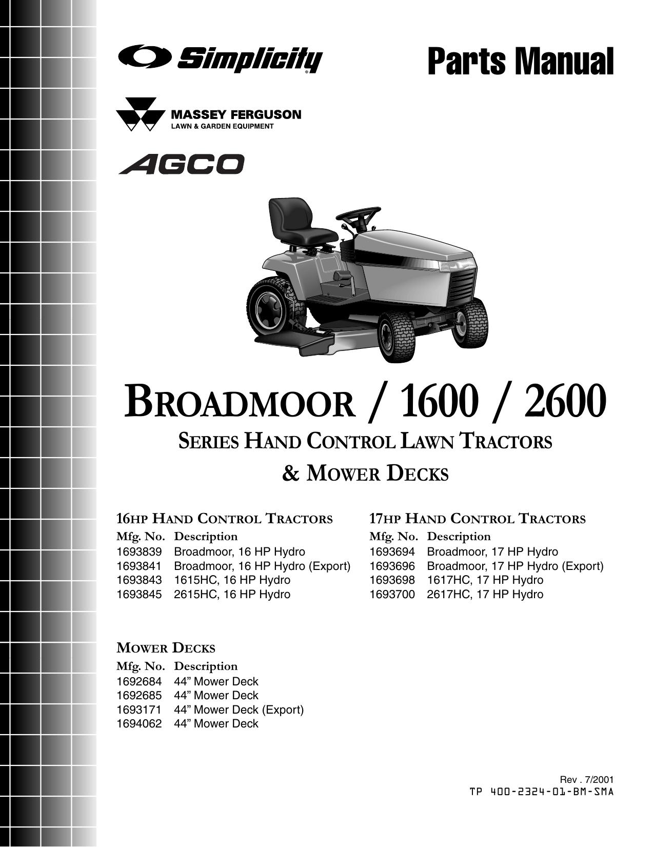 Simplicity Broadmoor Parts Diagram