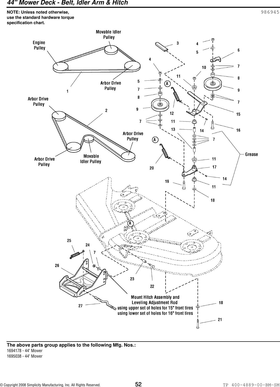 Simplicity Broadmoor 2600 Series Parts Manual / 1600 Lawn