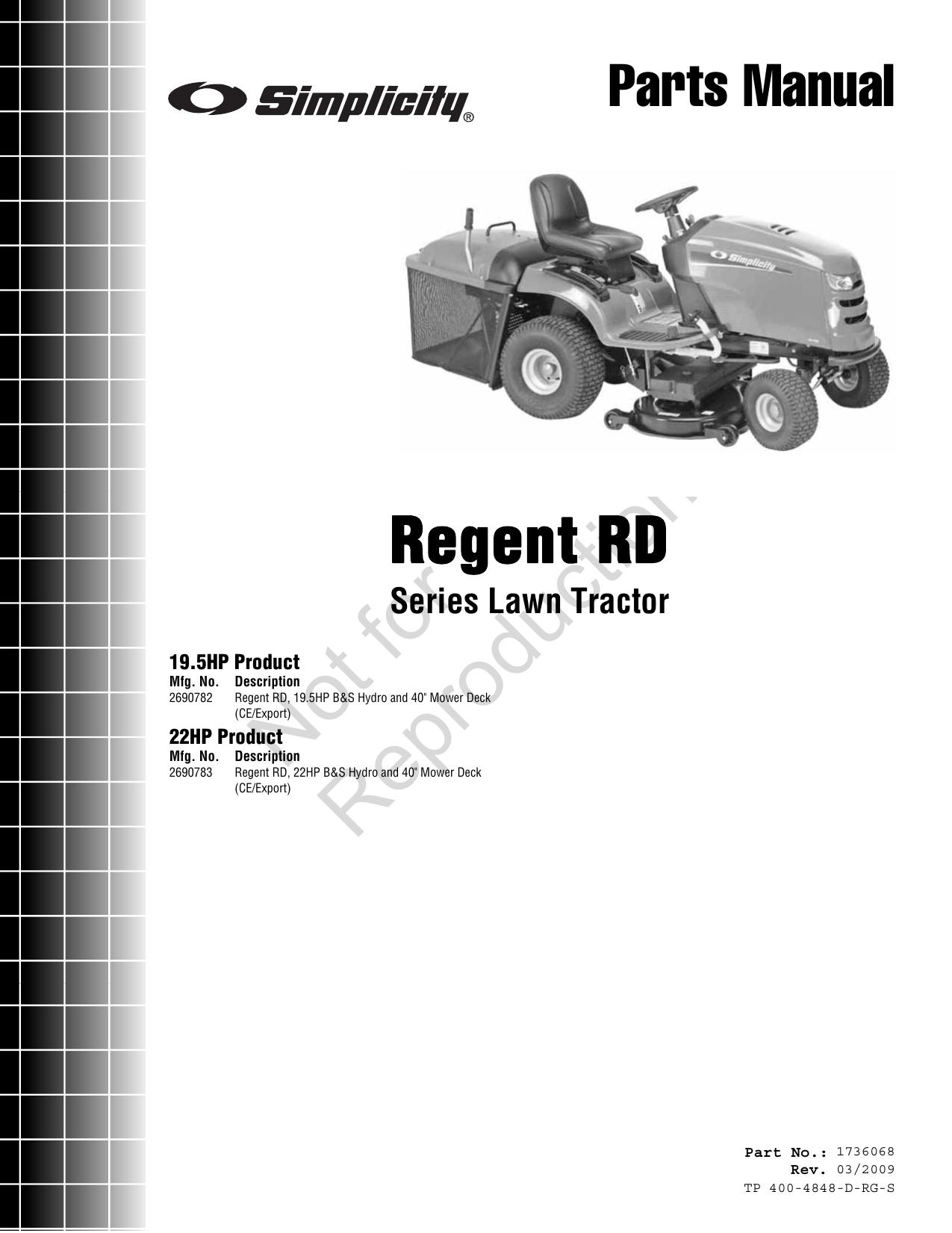 Simplicity Regent 2690783 Parts Manual RD Series Lawn Tractor