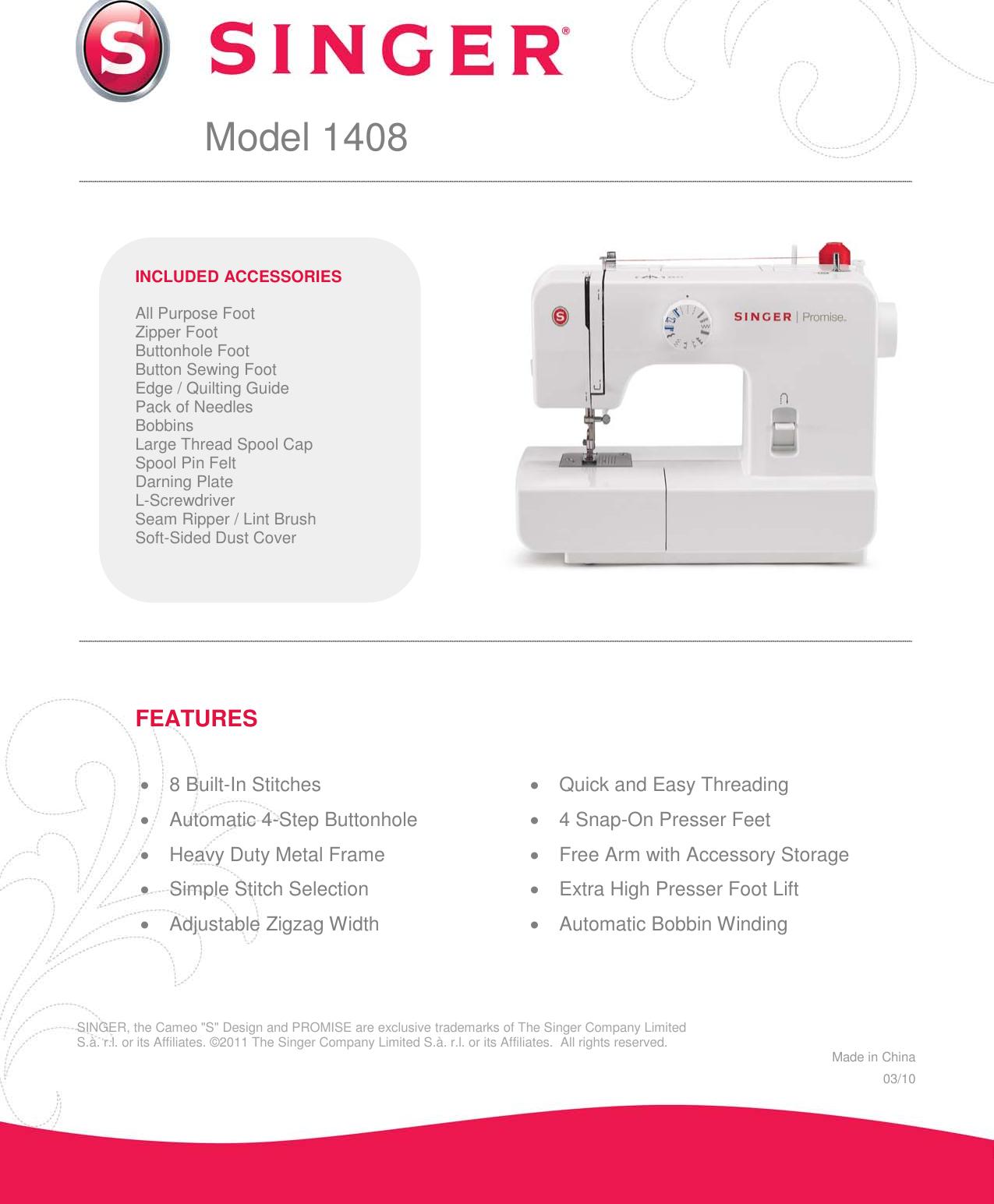Singer 1408 Promise Product Sheet