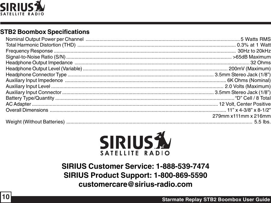 Sirius Satellite Radio Starmate Replay Boombox Stb2 Users Manual ...
