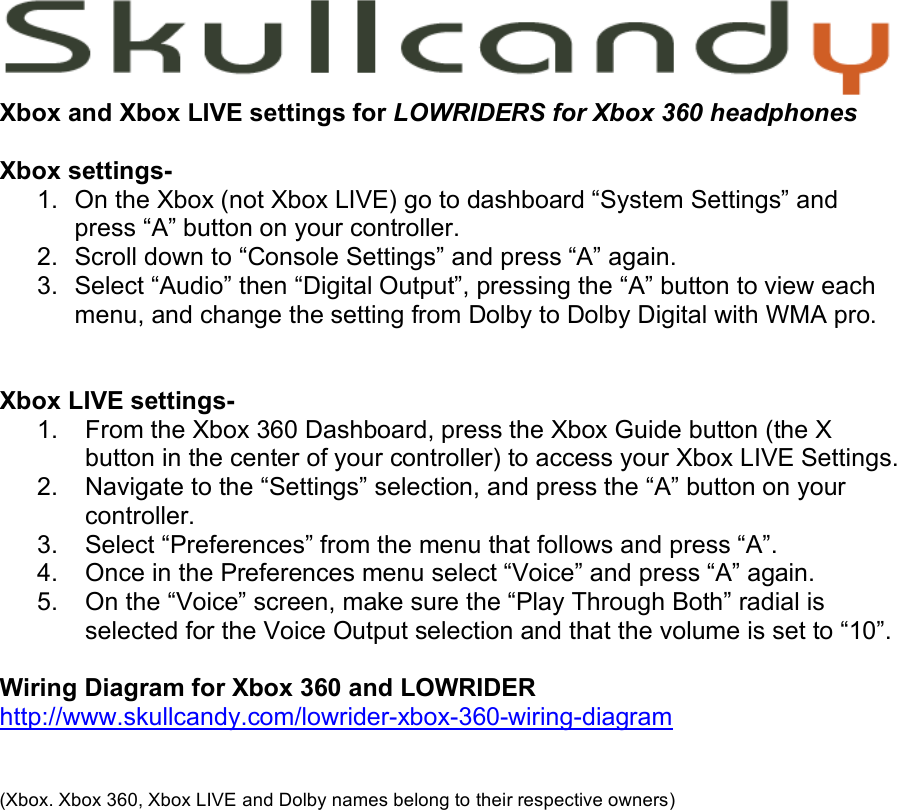Skullcandy Lowriders Users Manual Xbox Xbox_live settings