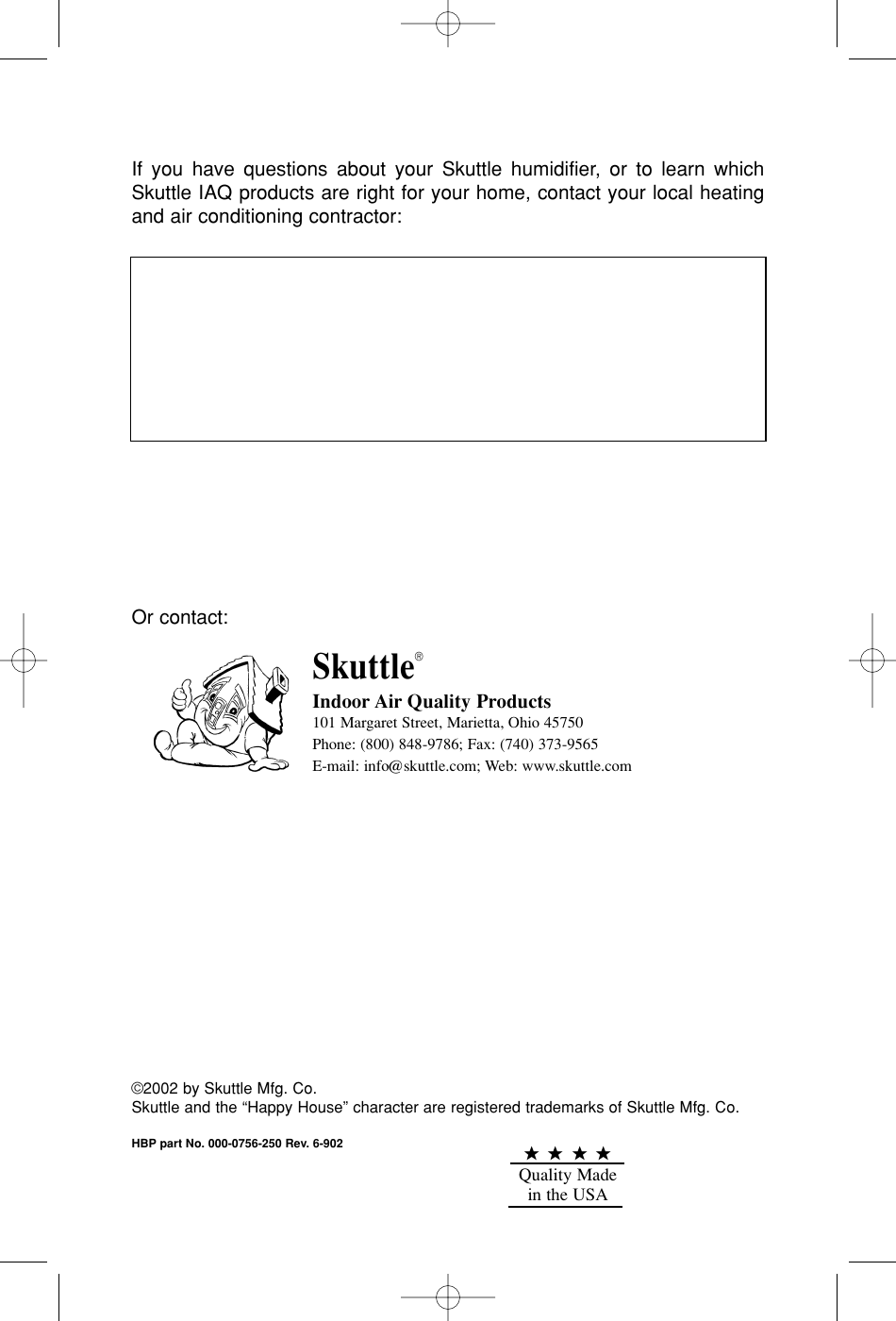 Skuttle Indoor Air Quality Products 45 Users Manual 20554 Owners