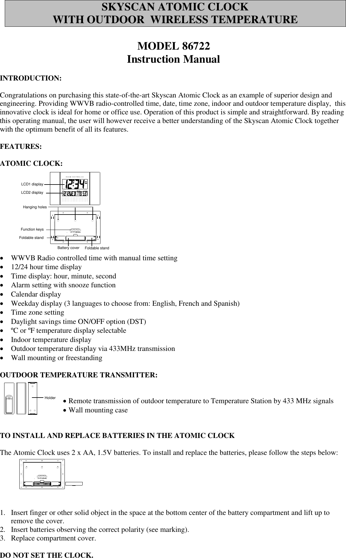 Skyscan 86722 Instruction Manual ATOMIC CLOCK WITH OUTDOOR WIRELESS