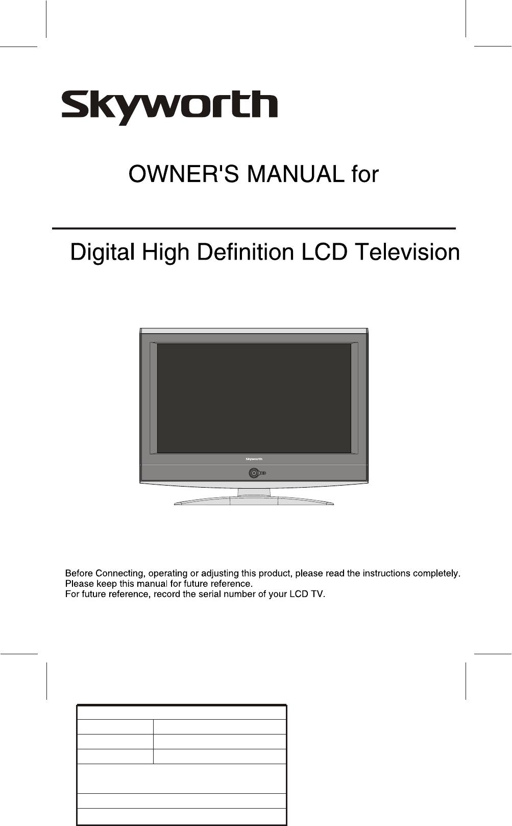 Skyworth Sltv 2632A 2 Users Manual 86085M MANUAL(ENG)