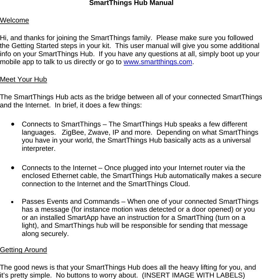 SmartThings STH-ETH001 SmartThings Hub User Manual Exhibit D Users