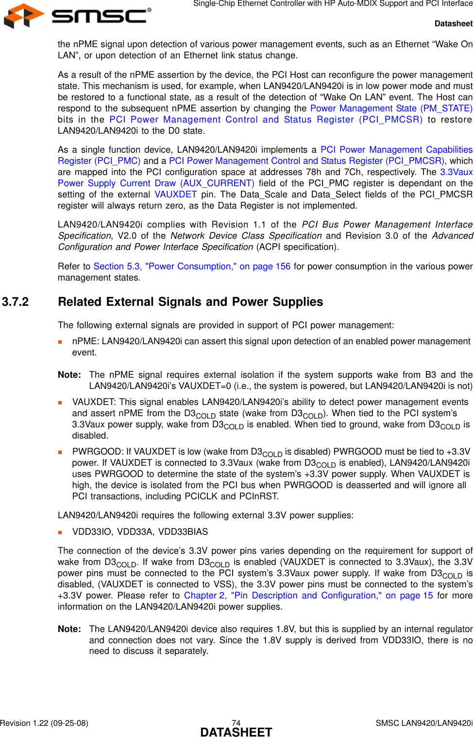 Smsc Lan9420 Users Manual LAN9420/LAN9420i Single Chip