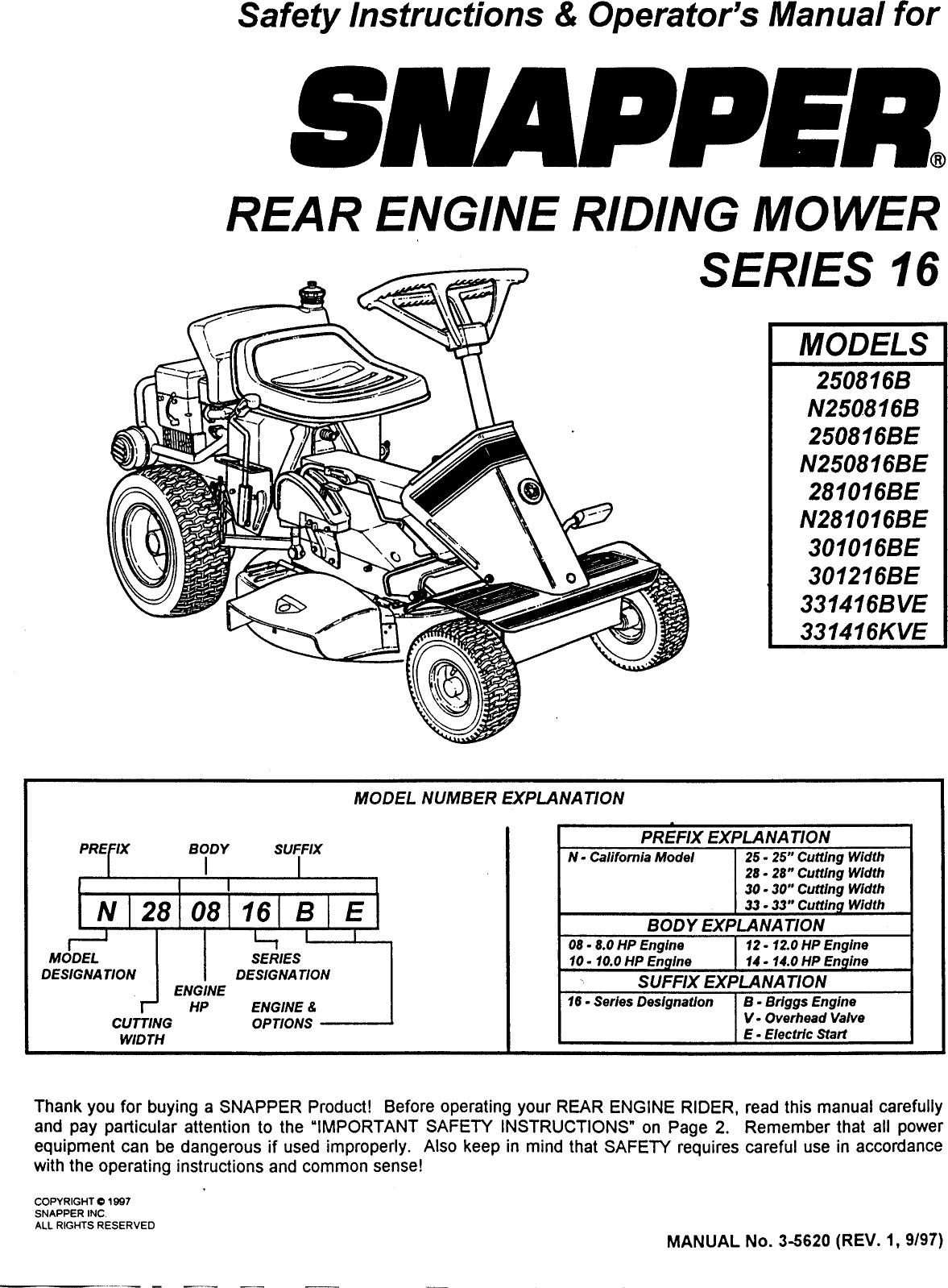 Snapper 250816b User Manual Rear Engine Riding Mower