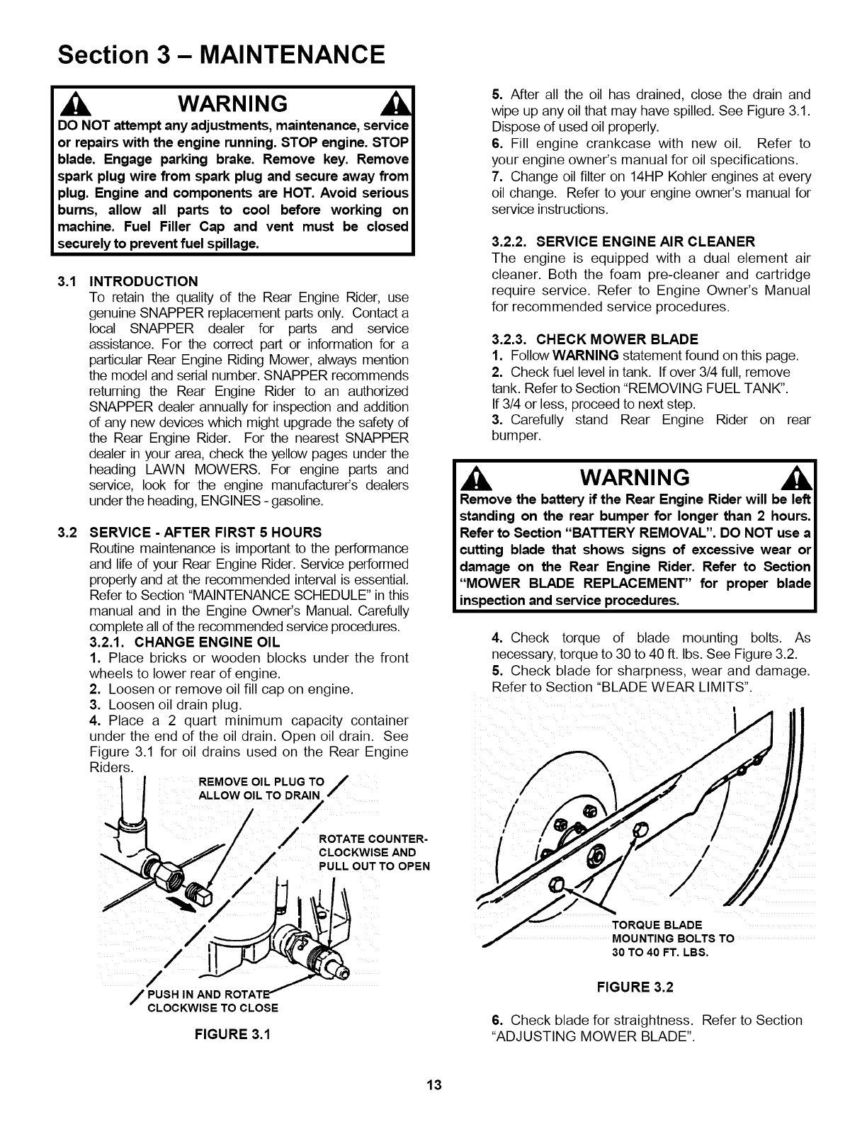 Snapper 281320be User Manual Rear Engine Riding Mower Manuals And 14 Hp Kohler Diagram Section 3 Maintenance