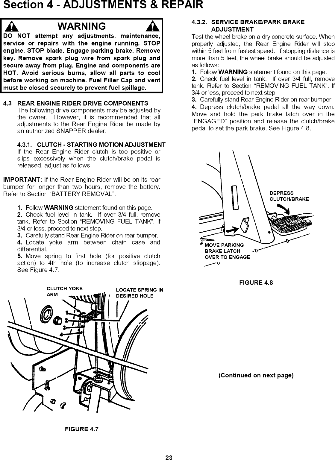 Snapper 421823BVE User Manual REAR ENGINE RIDING MOWER