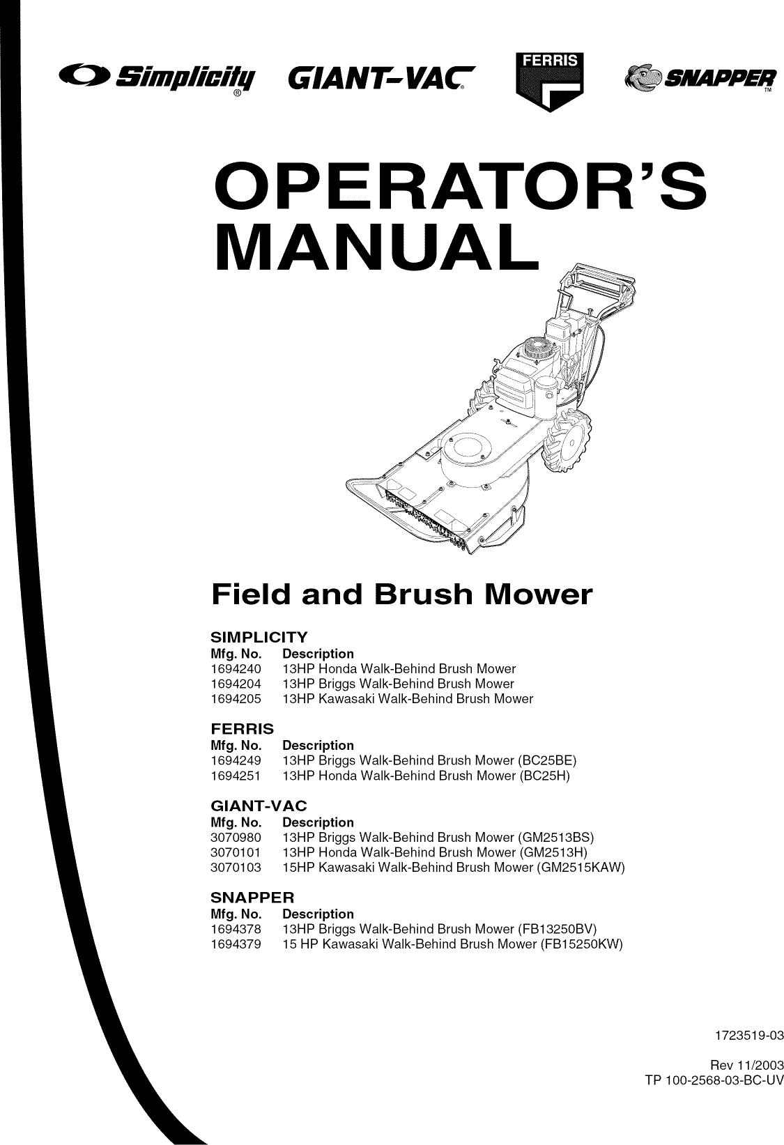 Snapper FB13250BV User Manual LAWN MOWER Manuals And Guides L0807700