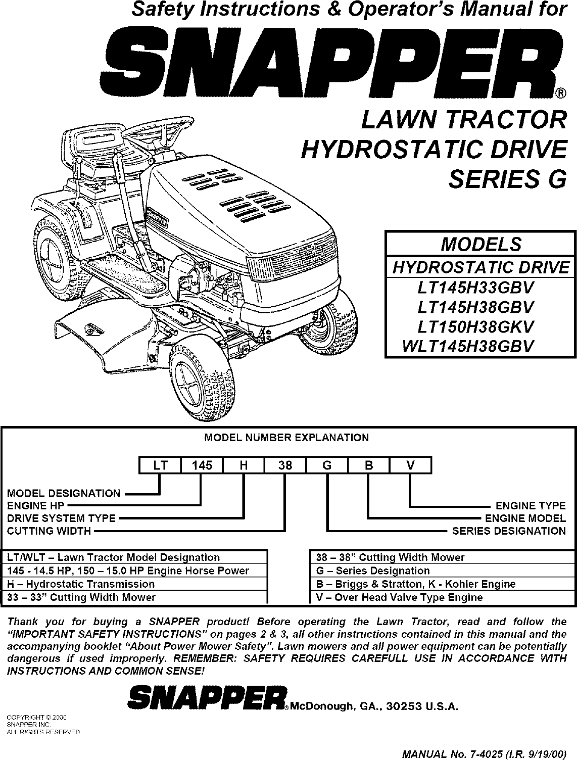 Snapper Lt145h38gbv User Manual Tractor Manuals And Guides L0808165 Have A 145 Horsepower Briggs Stratton Engine That Was
