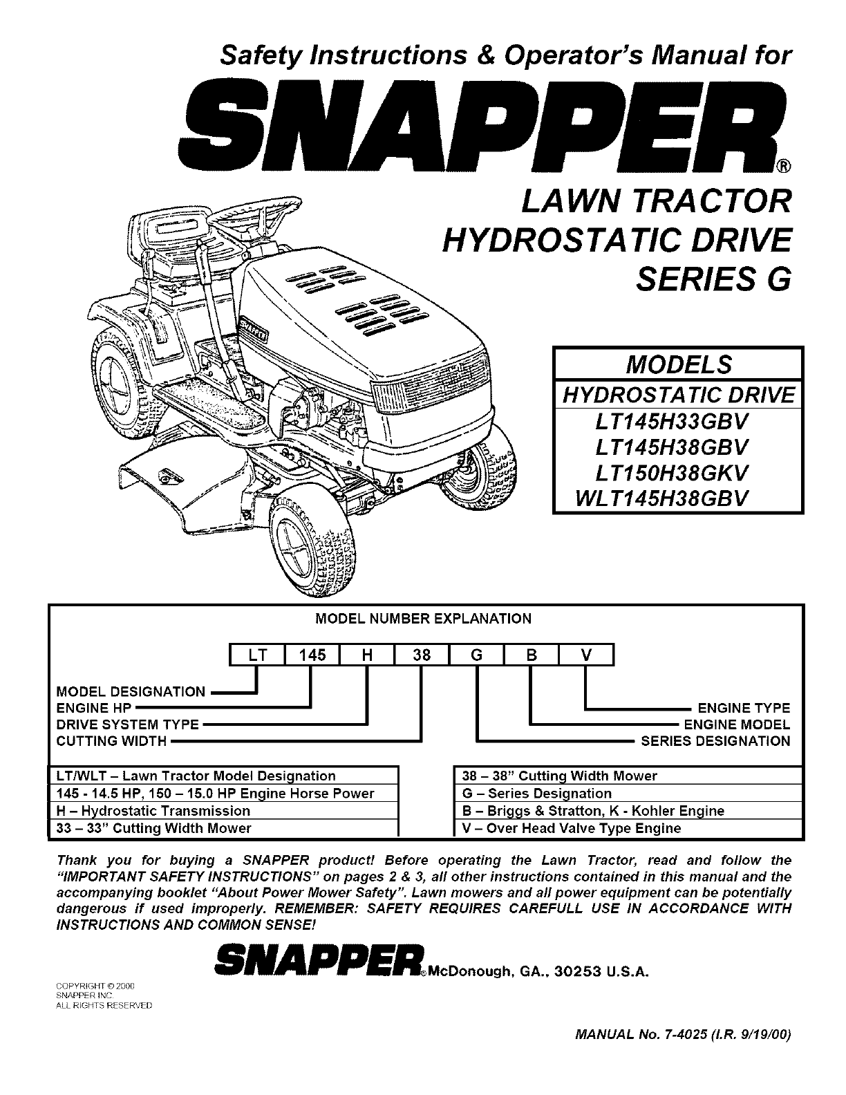snapper lt145h38gbv user manual tractor manuals and guides l0808165 rh usermanual wiki snapper mower operator's manual Snapper Manuals Index