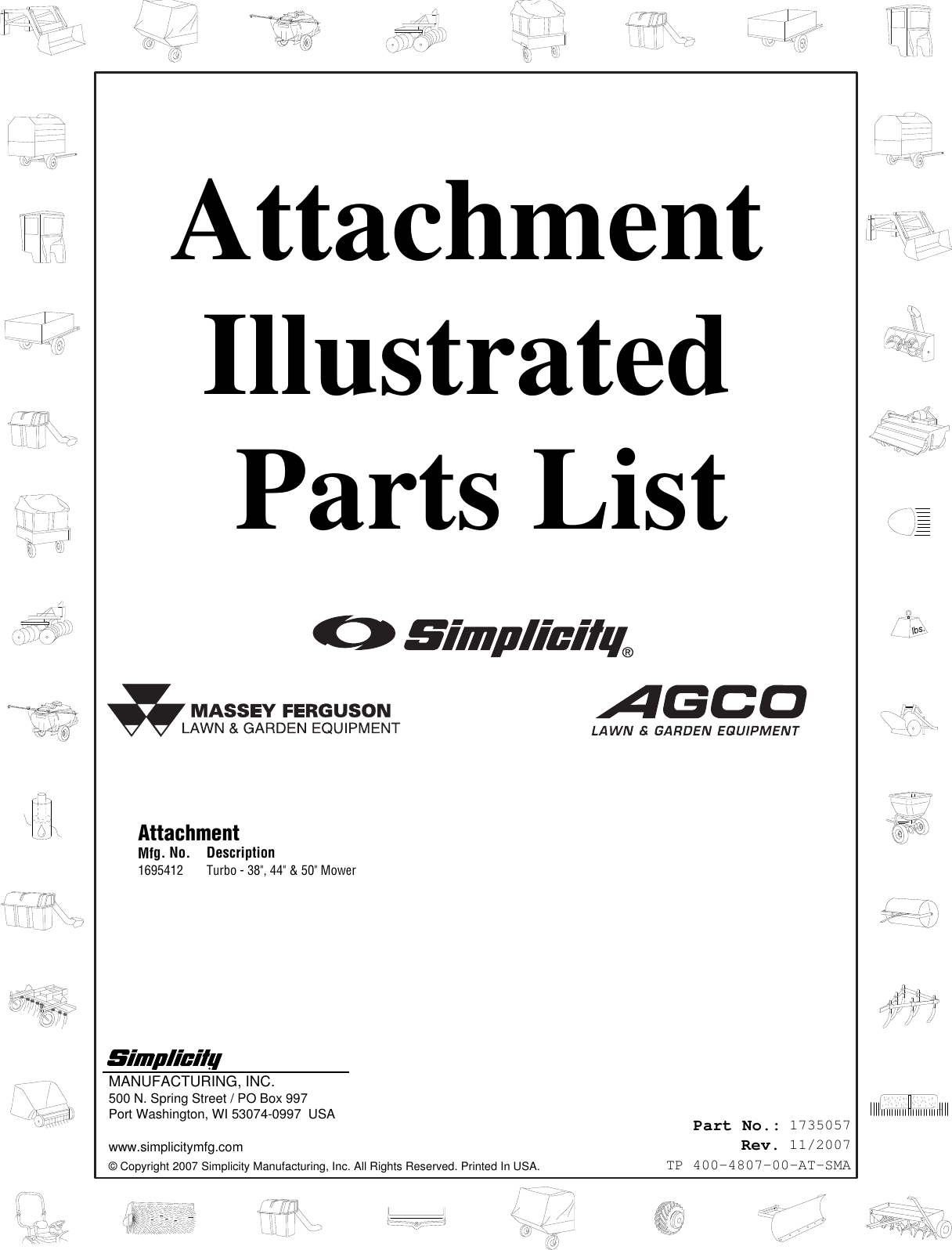 Snapper 4807 Users Manual Attachment Turbo 38, 44 & 50 Mower