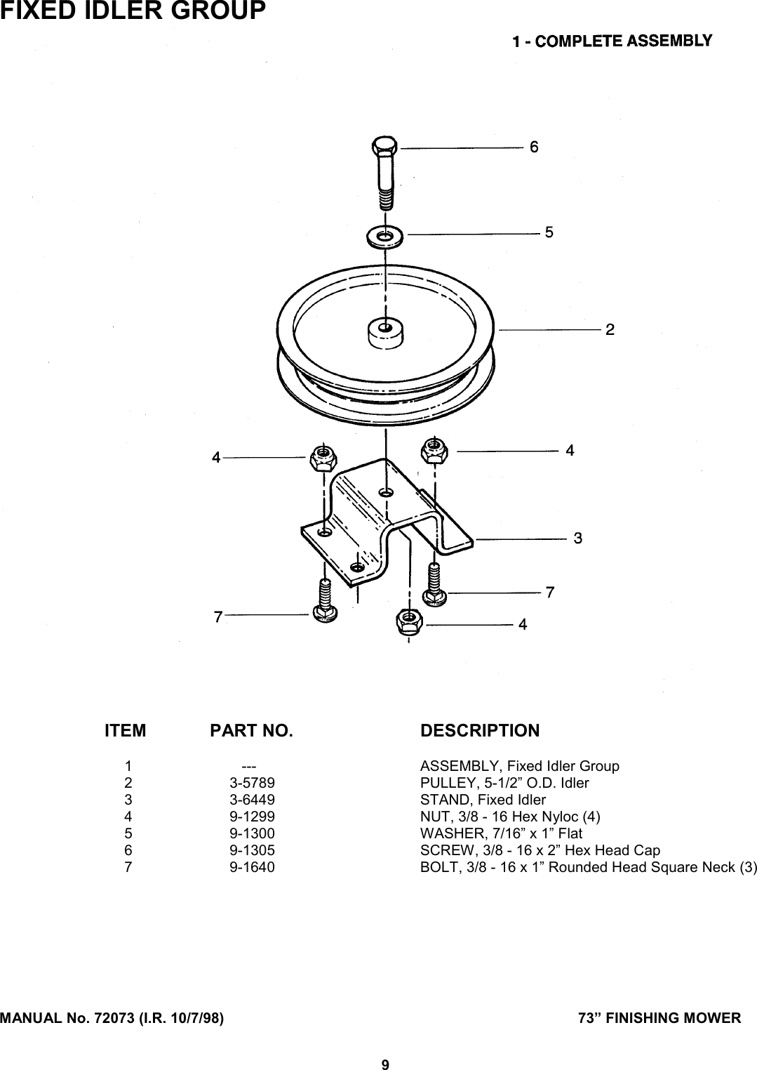 Snapper Finishing Mower Users Manual Parts For Diagram Page 9 Of 12