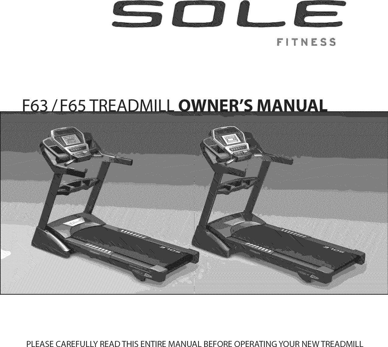 Sole F63 2011 User Manual Treadmill Manuf Thru May 2012 Manual Guide