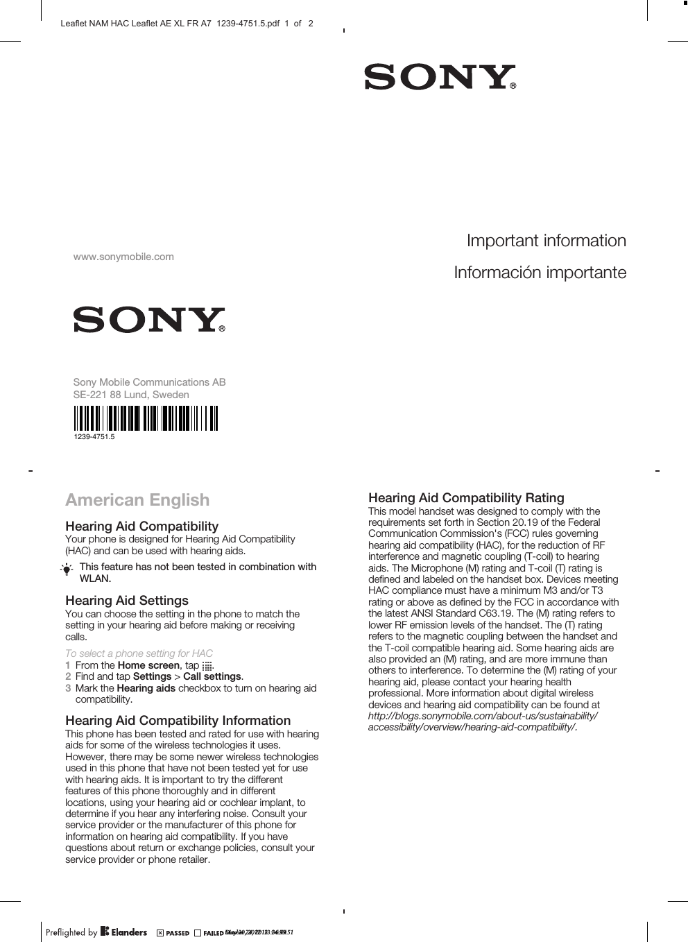 Sony Mobile Communications PM-0723 SMART PHONE User Manual A7 8P indd