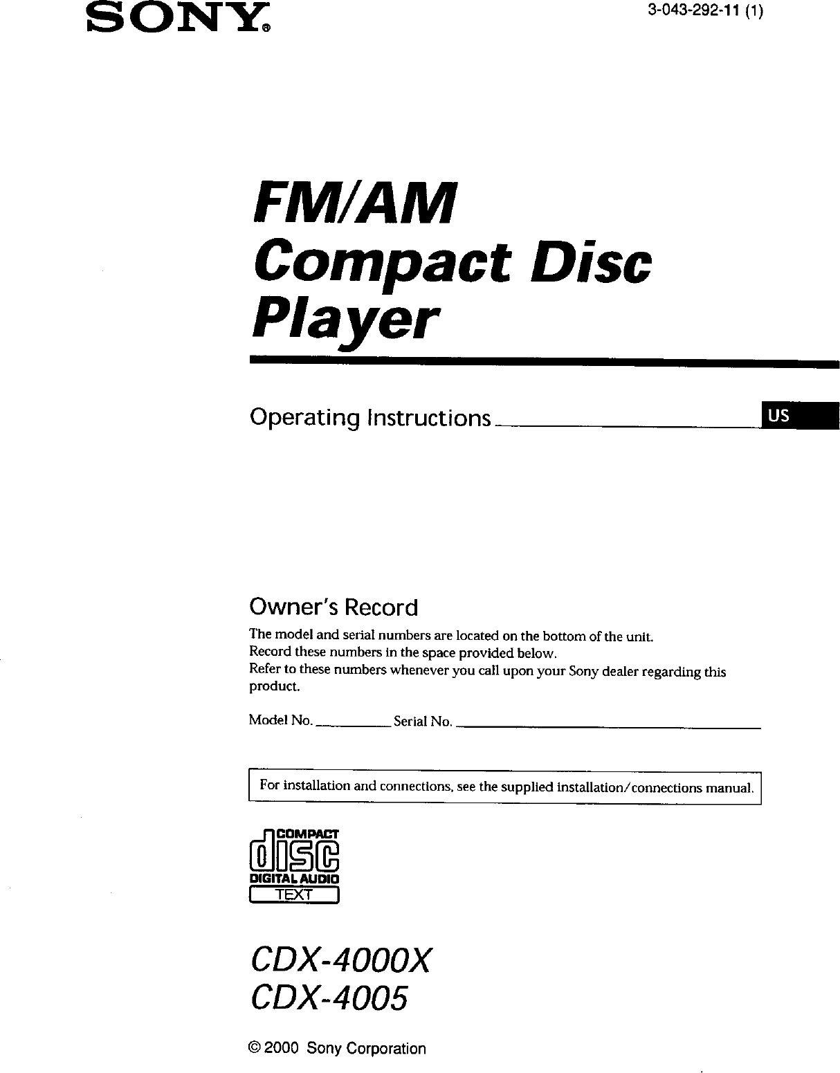 Sony CDX 4000X User Manual Compact Disc Manuals And Guides L0040170  UserManual.wiki