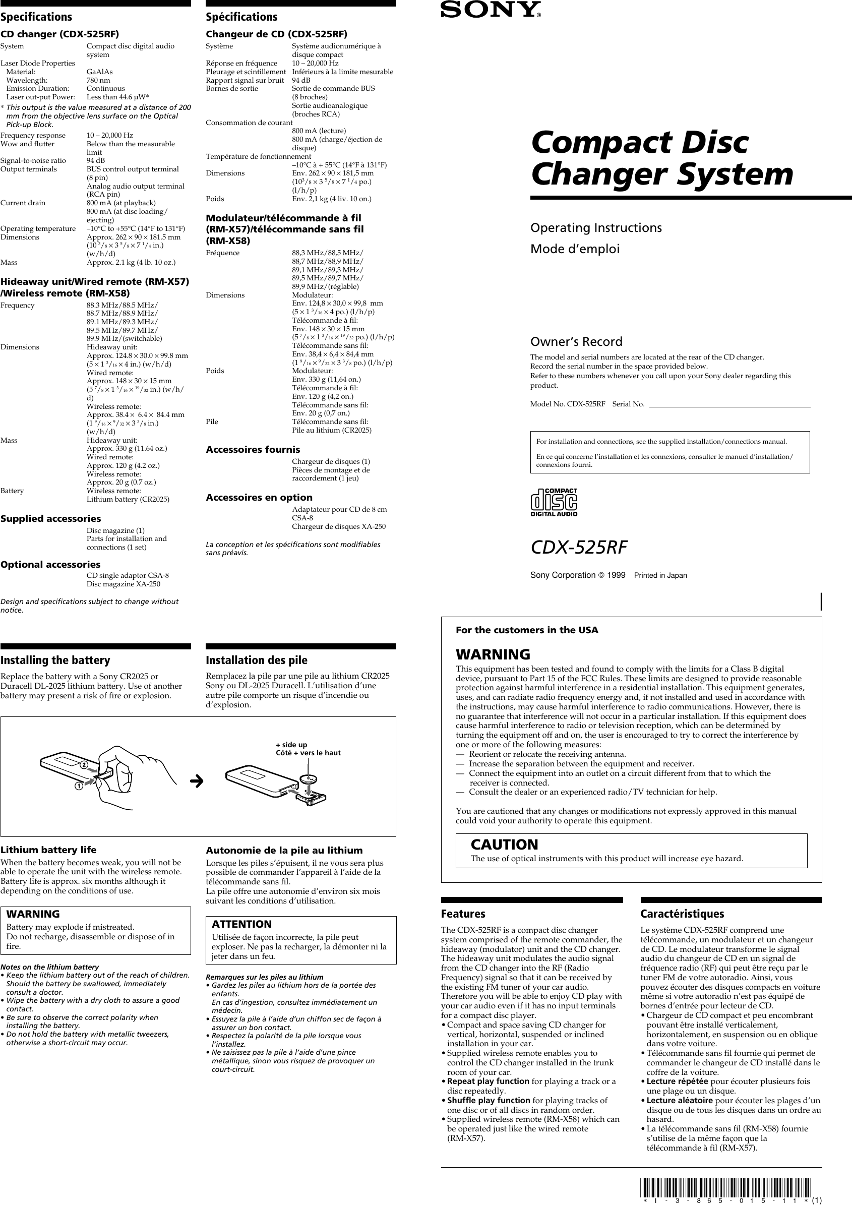 Sony CDX 525RF User Manual Operating Instructions (primary