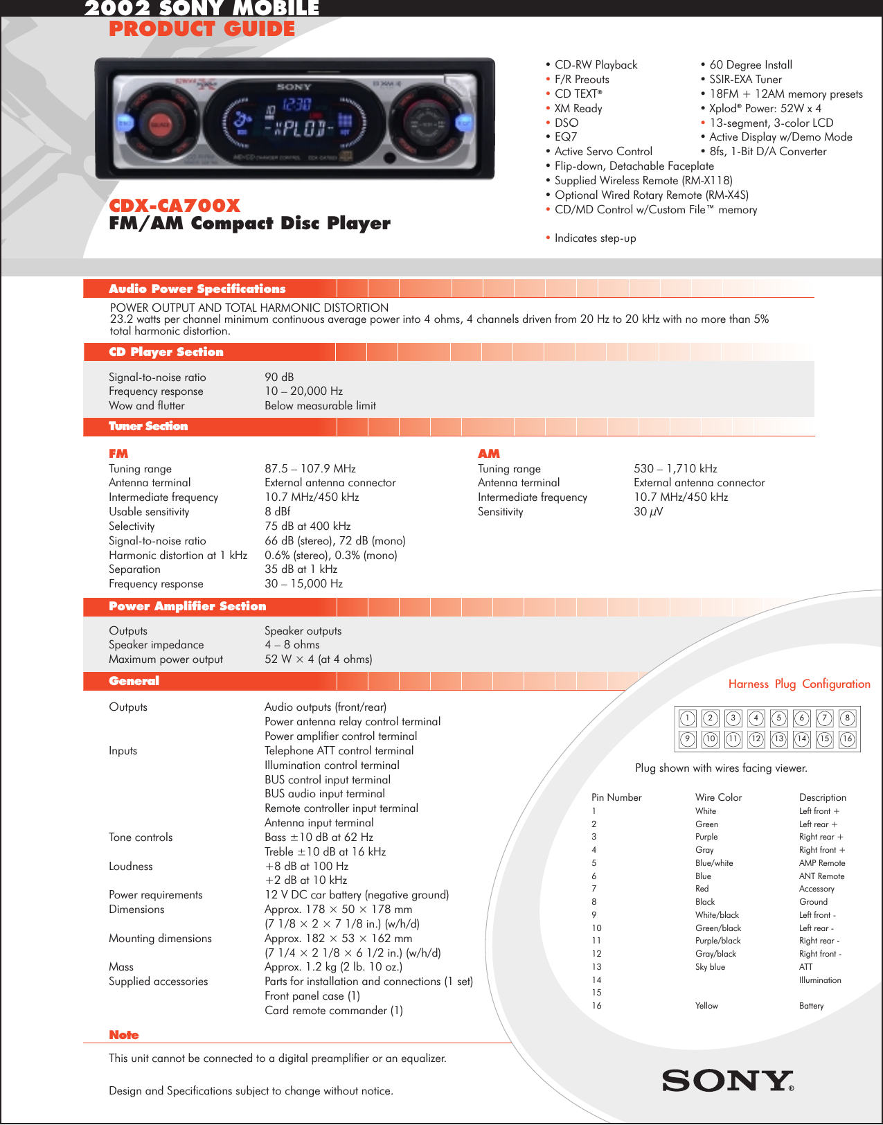 sony cdx ca700x user manual product guide specifications Sony Cdx Ca710x Wiring-Diagram