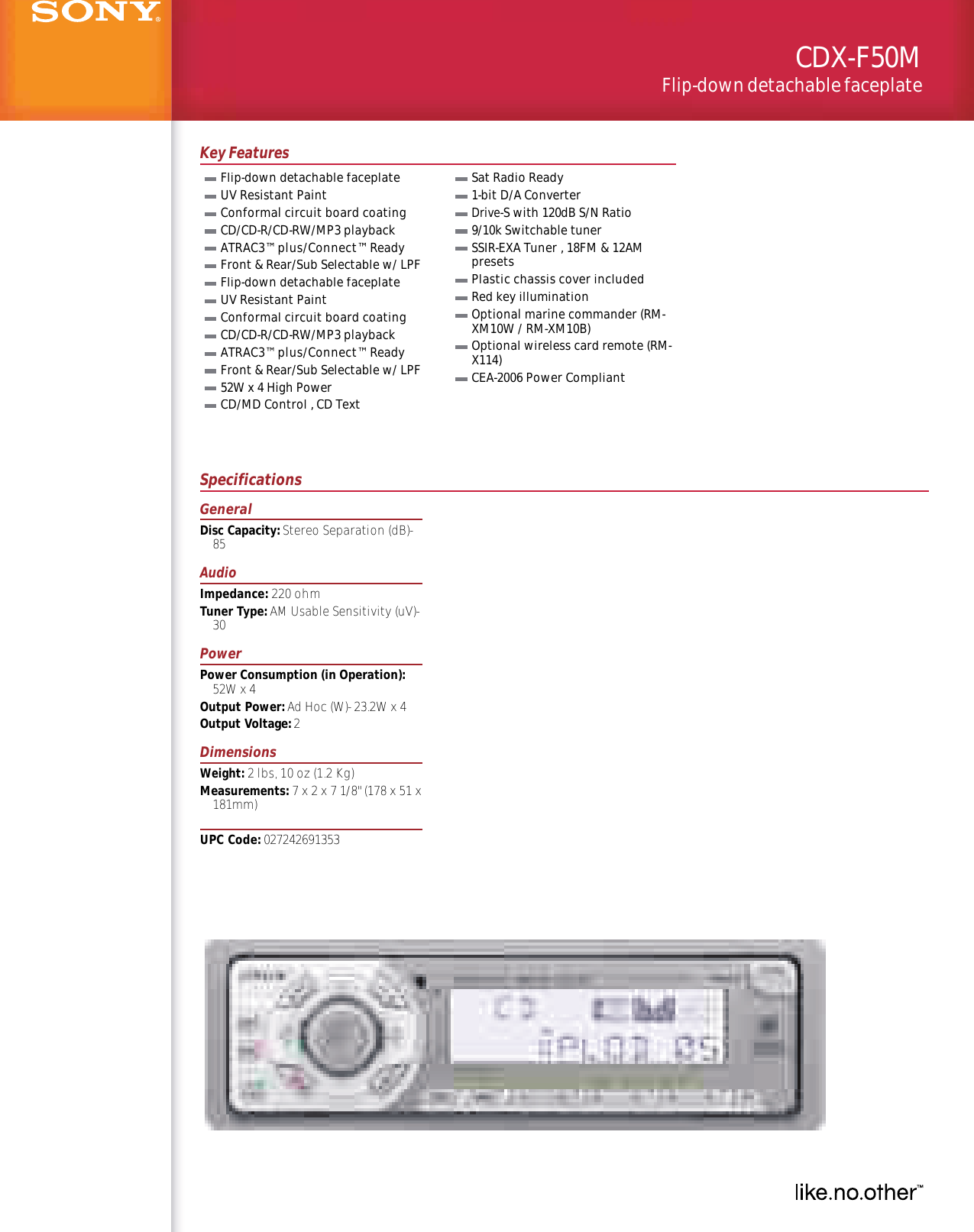 sony cdx f50m user manual marketing specifications cdxf50m mksp  support for cdx f50m sony usa