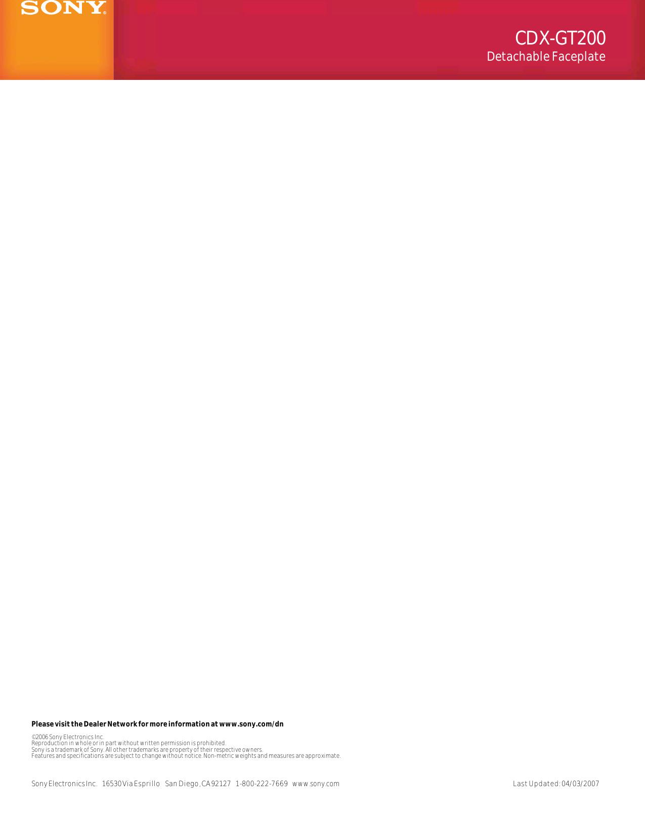 Sony Cdx Gt130 Wiring Diagram Manual Model Mo Schematics Gt200 Xplod 52wx4 Basic Gt30w Ca705m