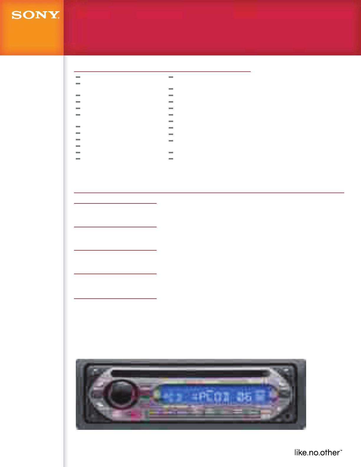 Sony Cdx Gt200 User Manual Marketing Specifications Cdxgt200 Mksp