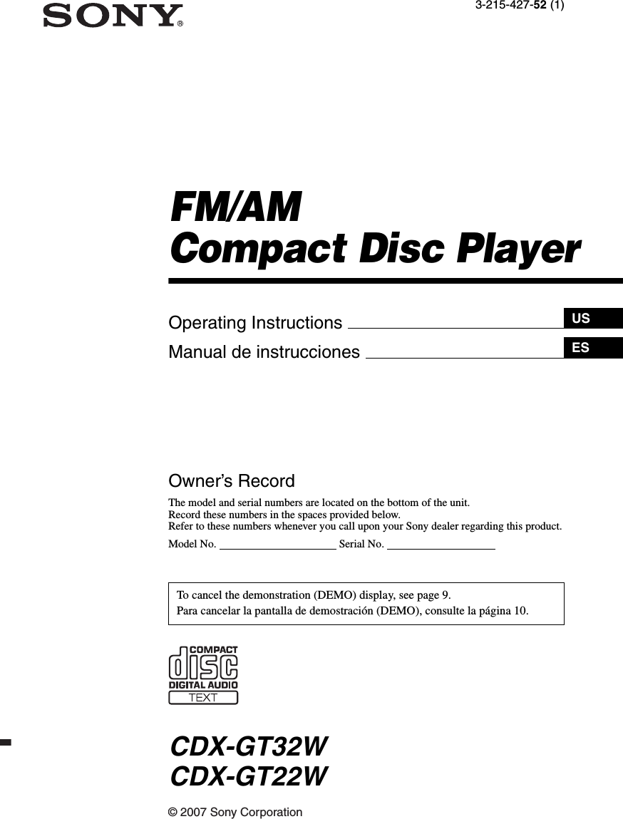 Sony Xplod Cdx Gt22w Wiring Diagram Electrical Diagrams Fm Am Compact Disc Player Gt32w User Manual Operating Instructions Stereo Wire Harness