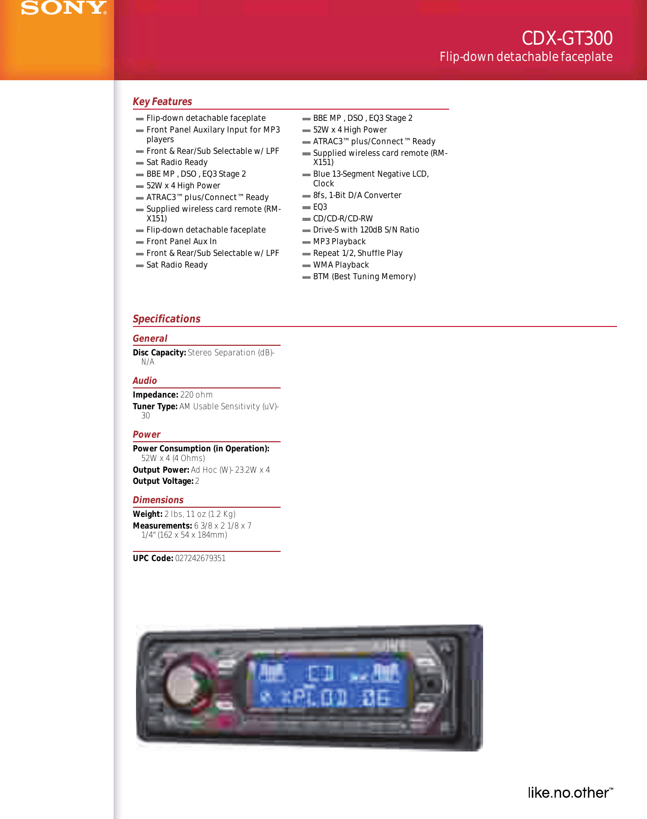 Sony Cdx Gt300 Wiring Diagram Detailed Schematics Gt07 User Manual Marketing Specifications Cdxgt300 Mksp Xplod Speaker
