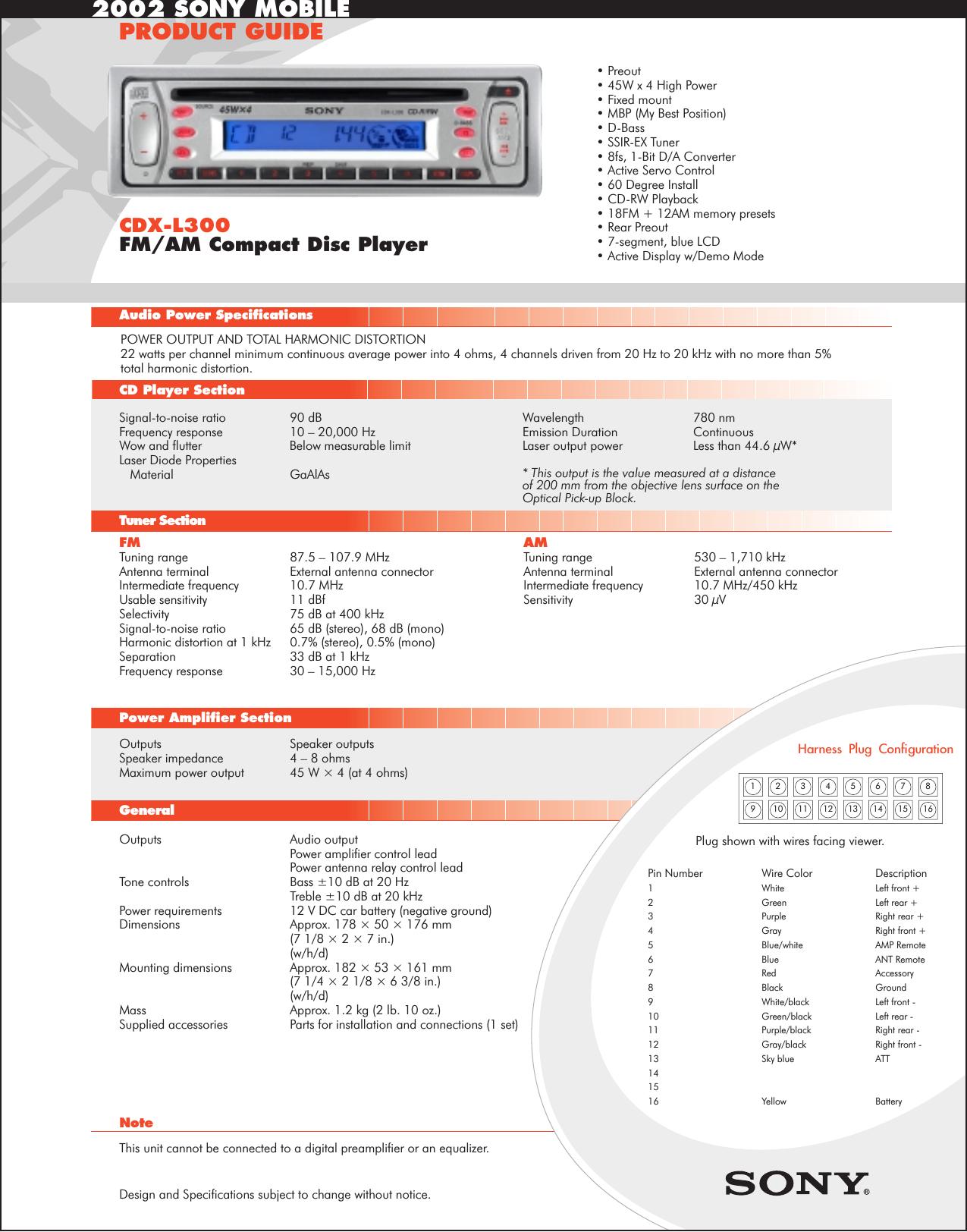 Stupendous Sony Cdx L300 Wiring Diagram Wiring Diagram Database Wiring 101 Mecadwellnesstrialsorg