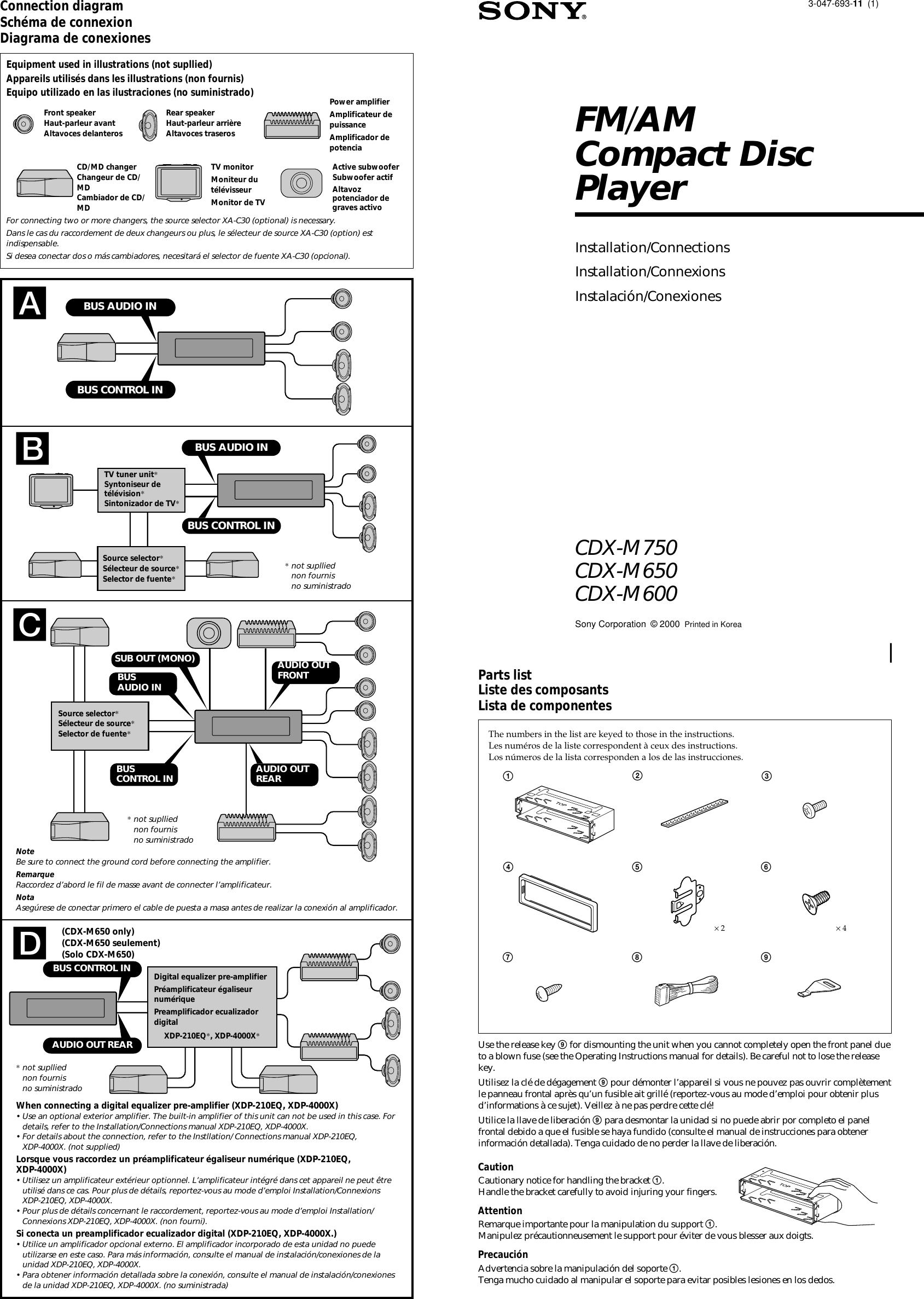 sony cdx m600 m750  cdx m650  cdx user manual installation  connection instructions cdxm600install