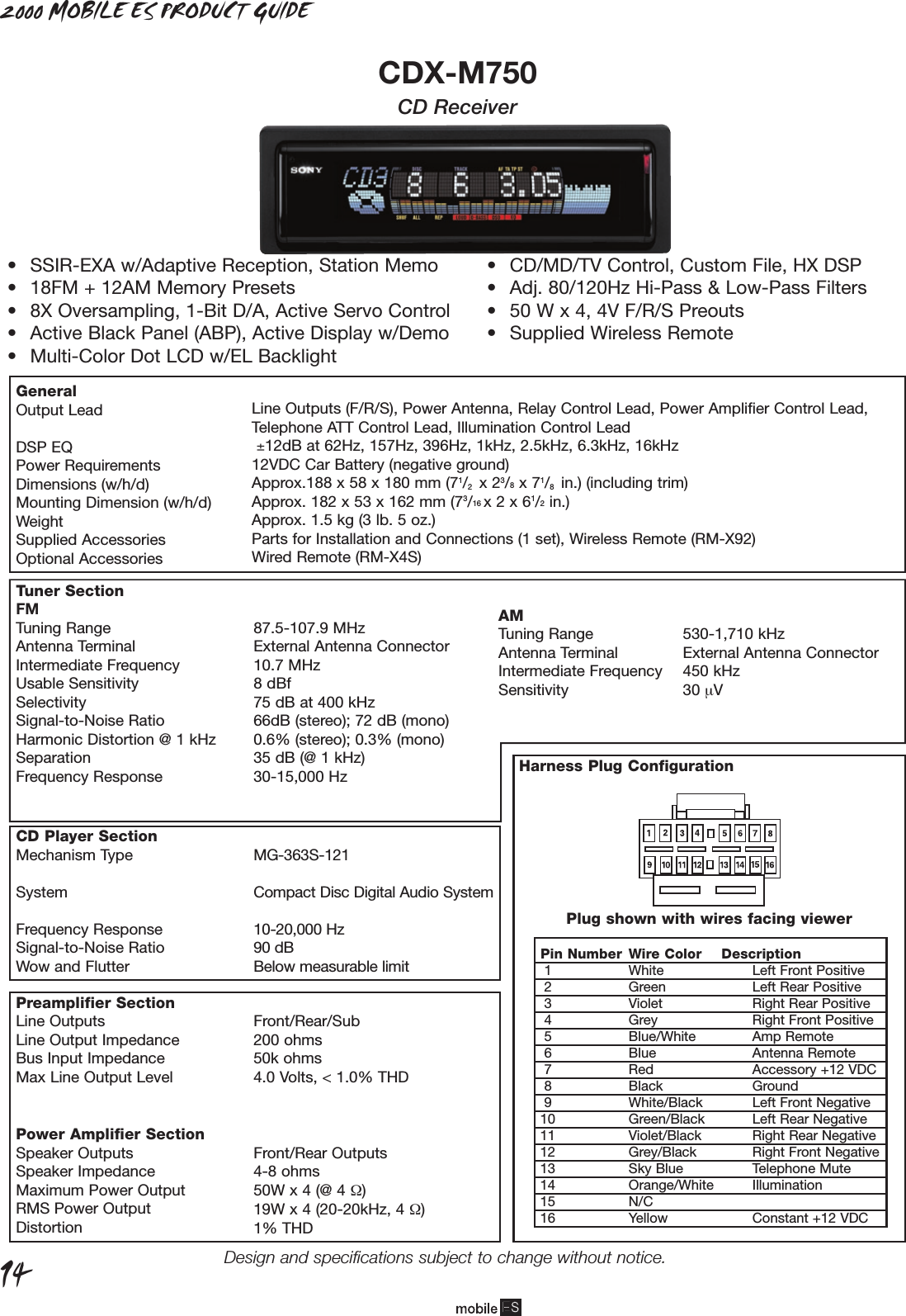 sony cdx m750 90226a me product guide p1ver4 user manual rh usermanual wiki Sony Stereo Wiring Colors Sony Stereo Wiring Colors