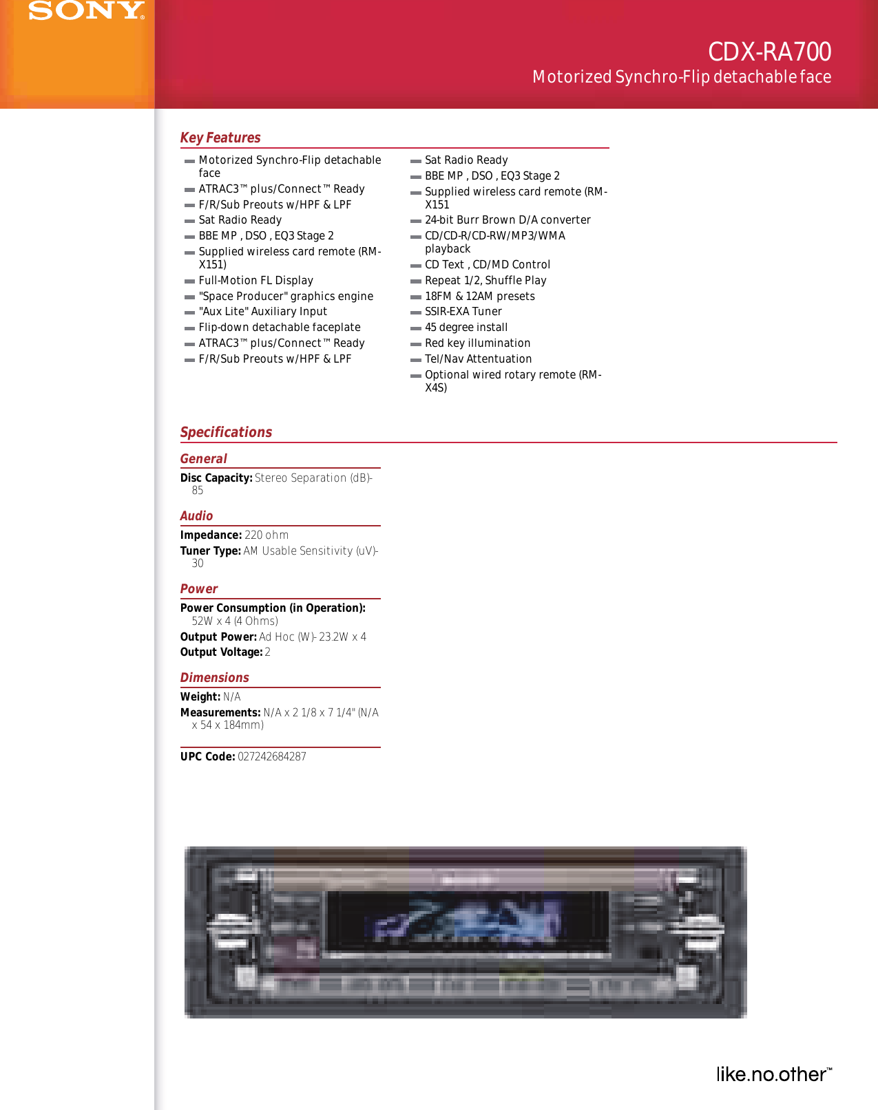 Sony Cdx Ra700 Wiring Diagram Best And Letter Gt500 User Manual Marketing Specifications Cdxra700 Specs
