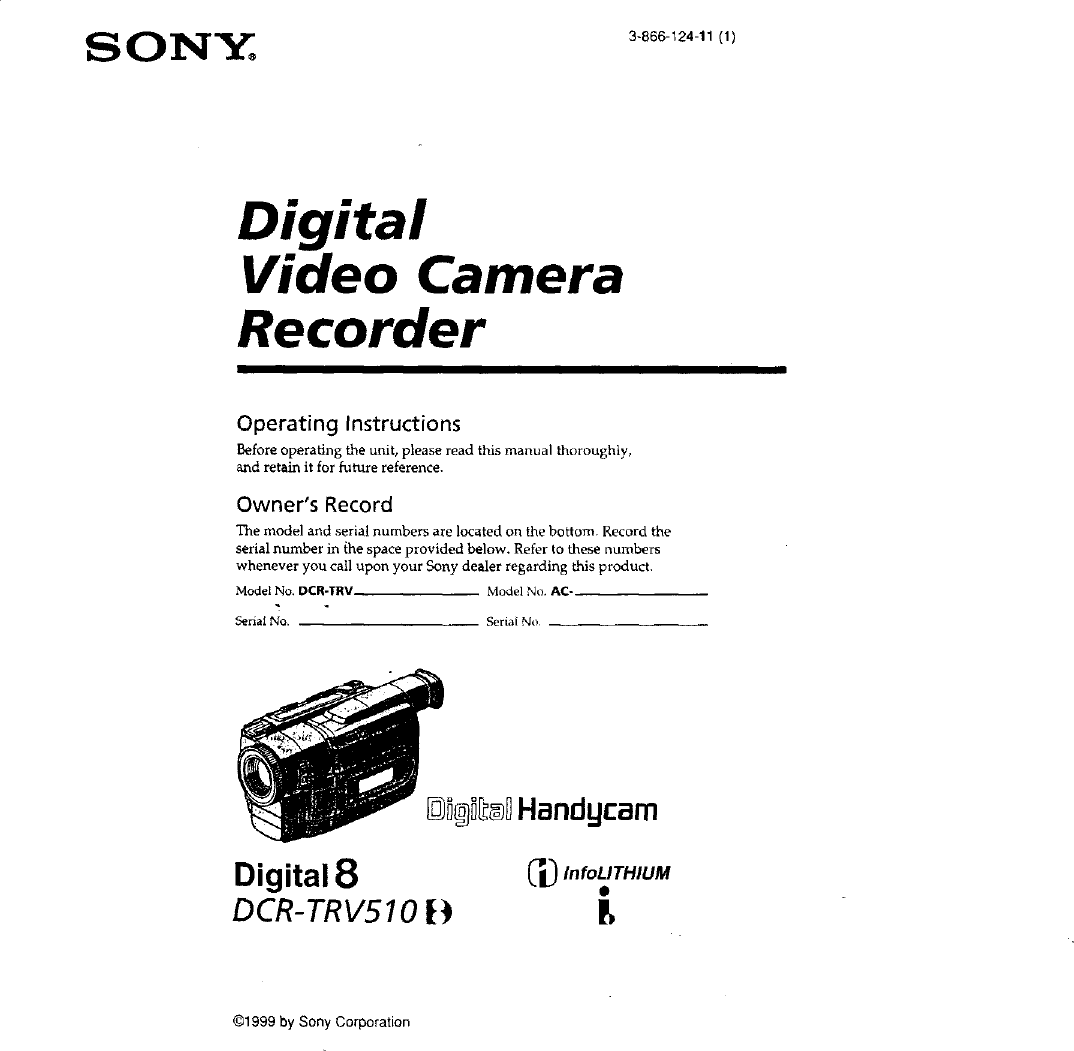 Sony DCR TRV510 User Manual CAMCORDER Manuals And Guides