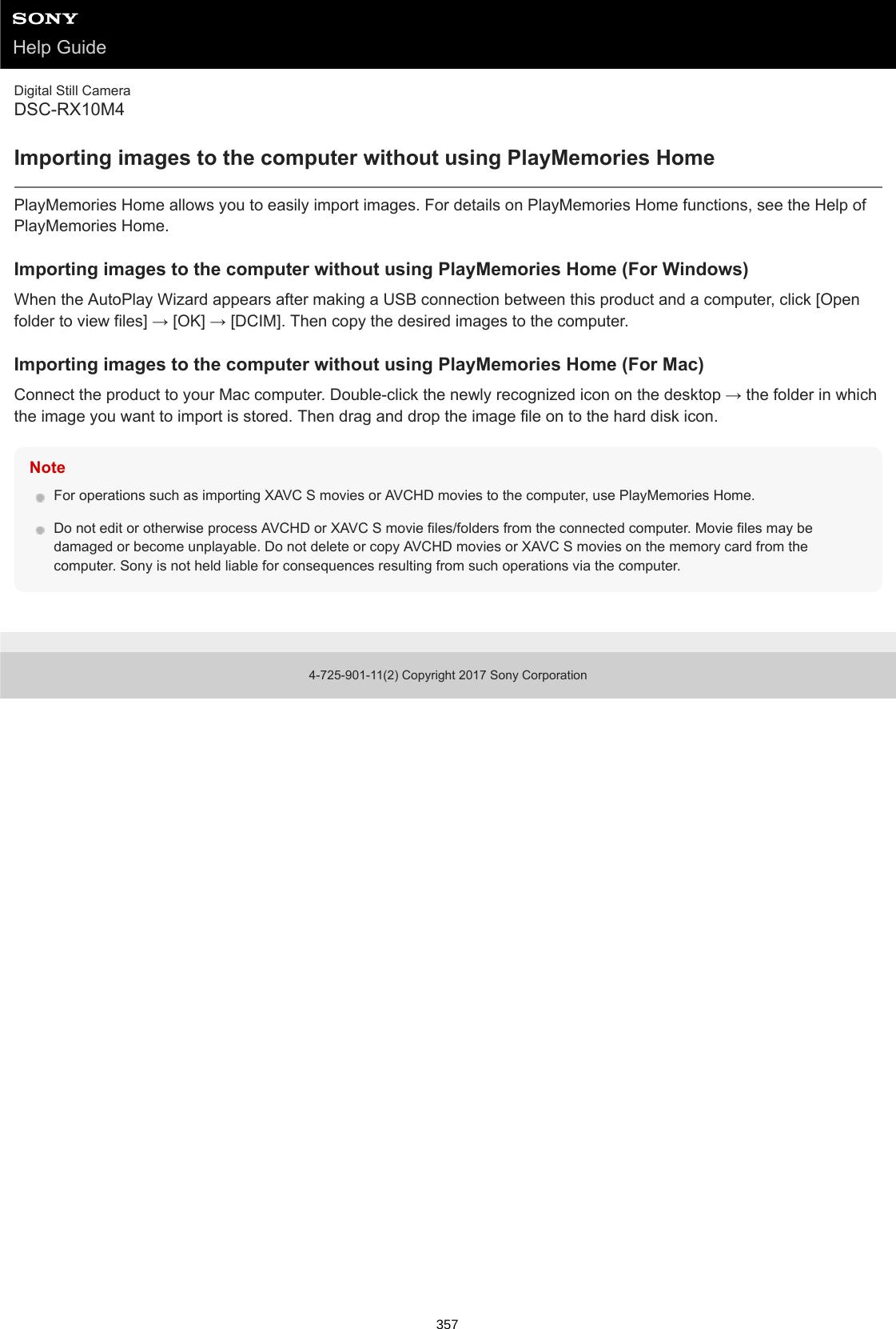 Sony DSC RX10M4 User Manual Help Guide (Printable PDF) 4725901112