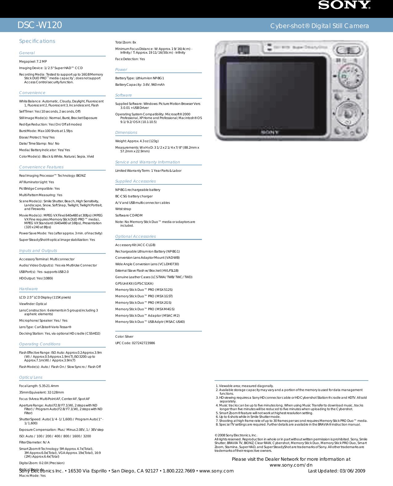 Sony DSC W120 User Manual Marketing Specifications (Silver