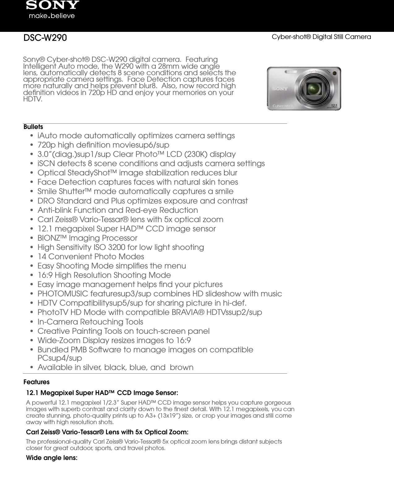 Sony DSC W290 User Manual Marketing Specifications (Silver ) DSCW290