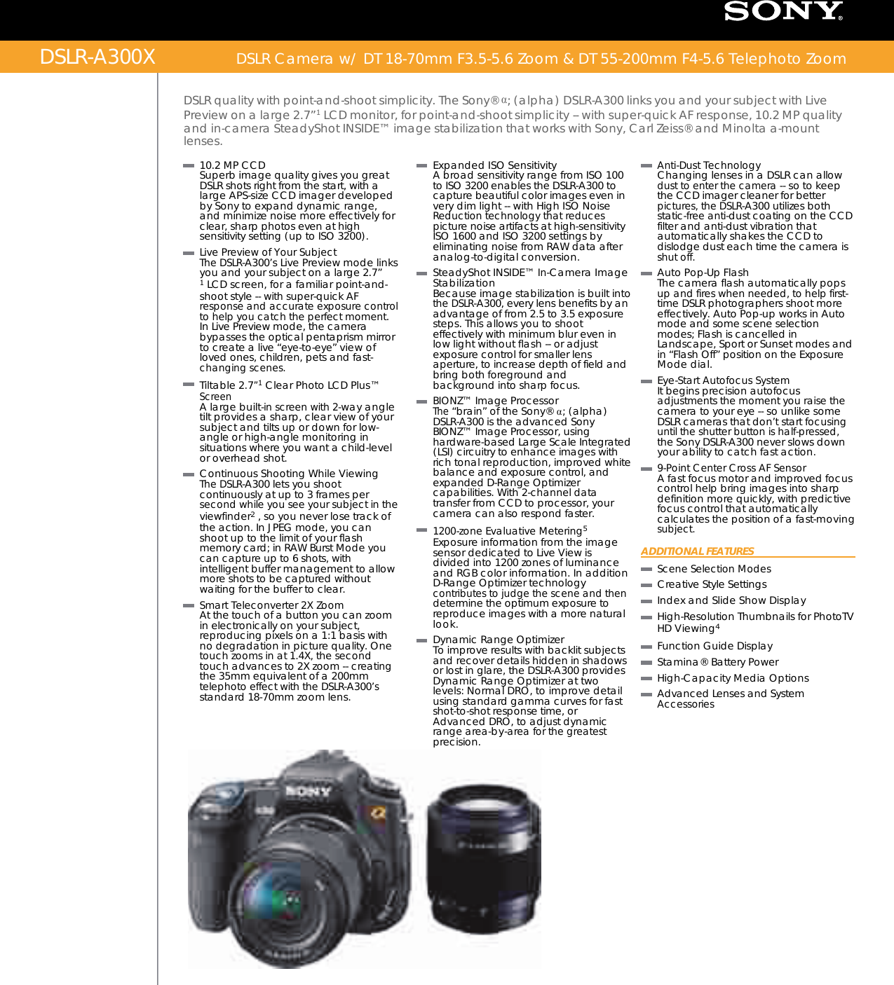 sony dslr a300 user manual marketing specifications dslr a300x rh usermanual wiki Sony A200 Manual Sony 300 Camera