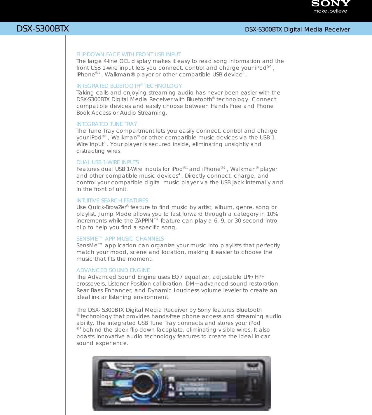 Sony DSX-S300BTX DSXS300BTX S300BTX Bluetooth Micrófono Radio DSX
