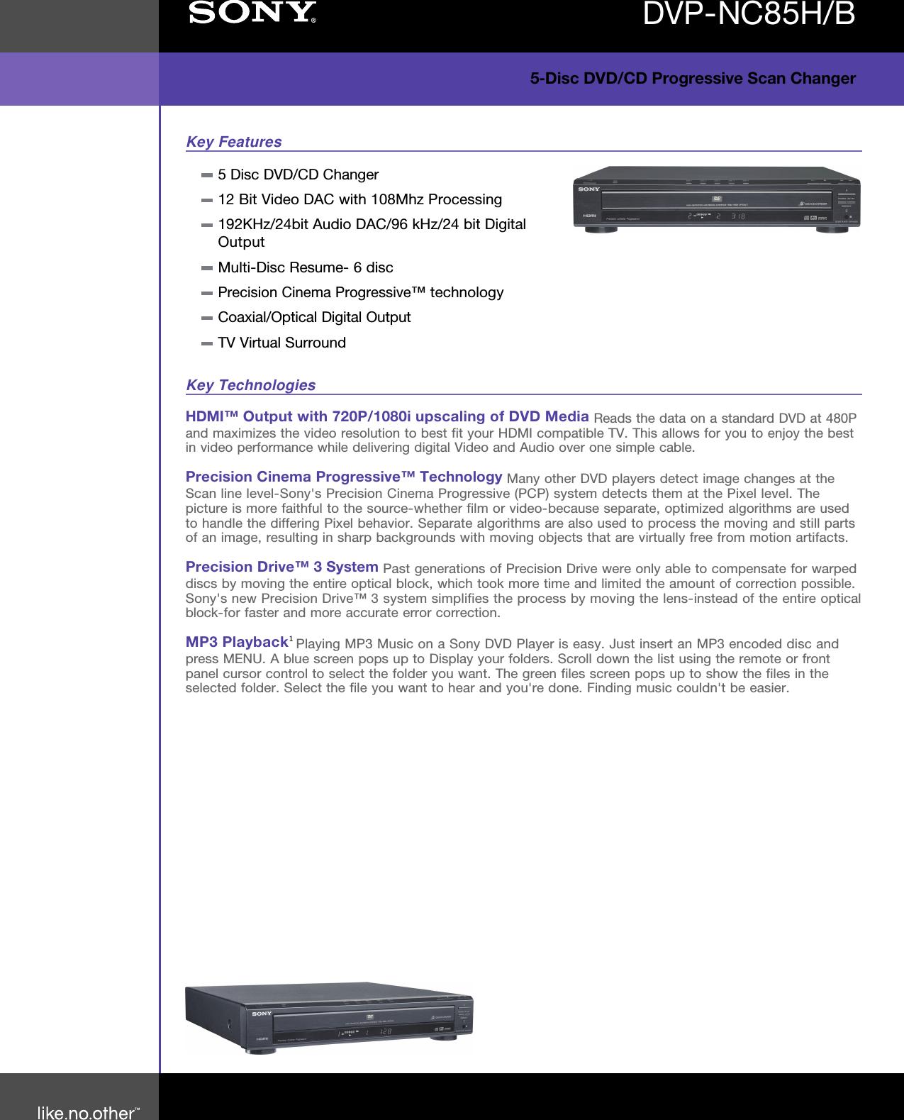 sony dvp nc85h user manual marketing specifications dvp nc85h b dvd rh usermanual wiki Sony CD Changer Sony 5 Disc DVD Player