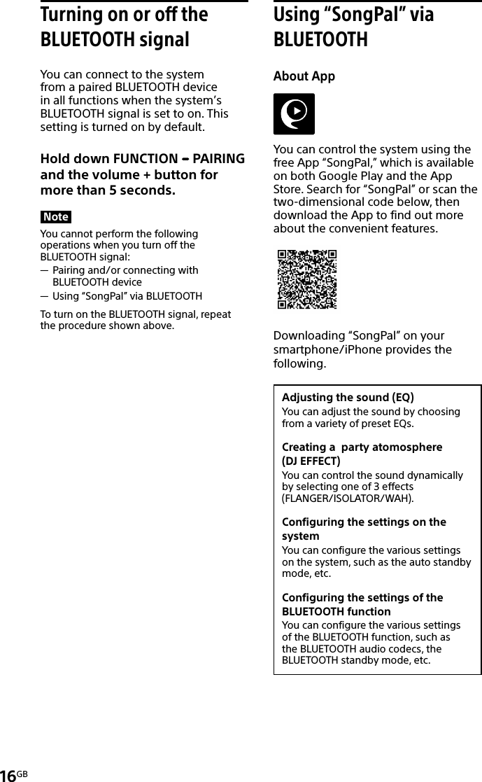 Sony GTK XB5 User Manual Operating Instructions 4597264112