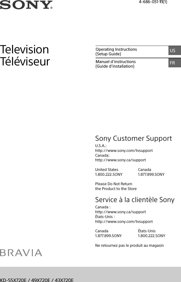Sony KD 40X40E User Manual Operating Instructions Setup Guide ...